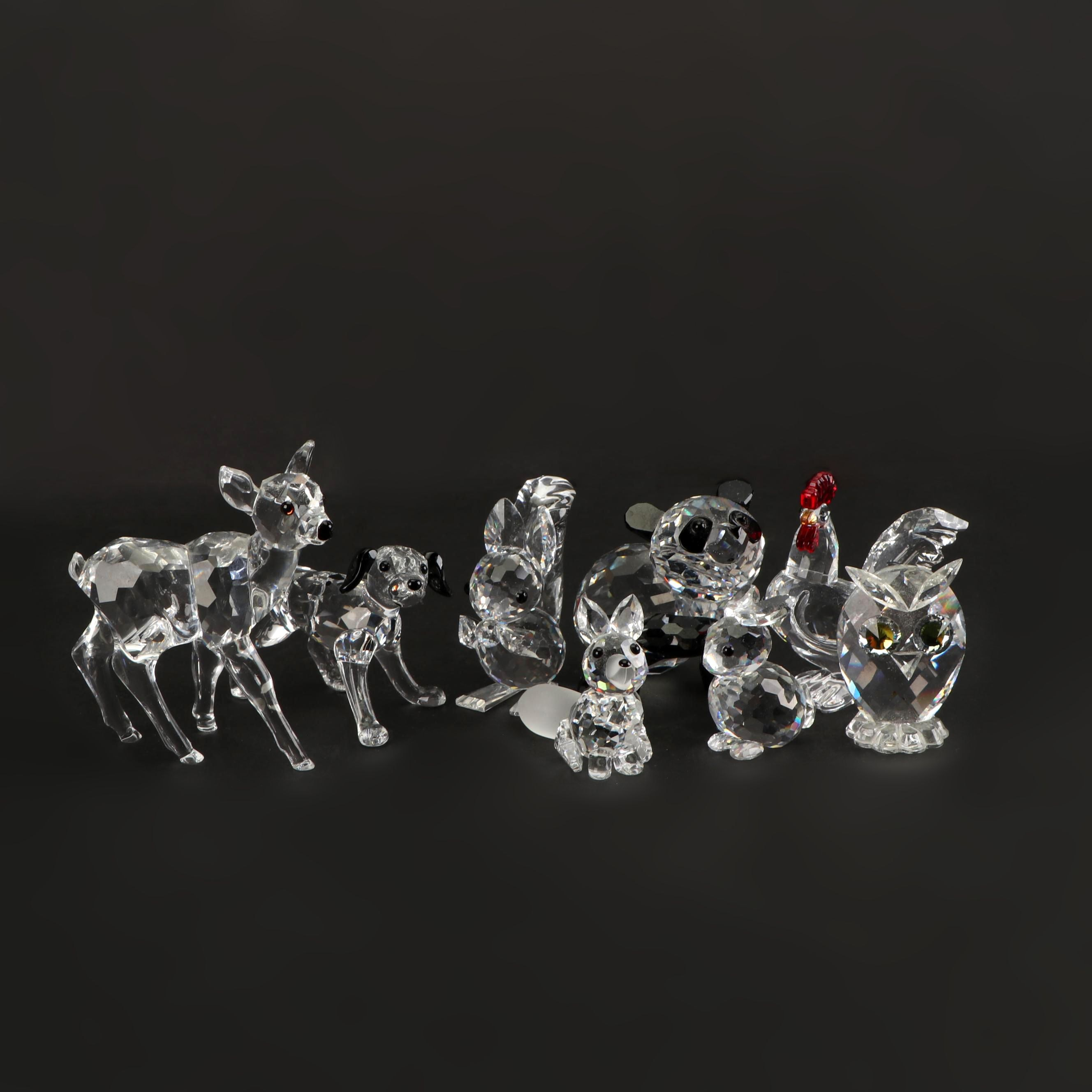 Swarovski Lead Glass Animal Figurines, 1990s