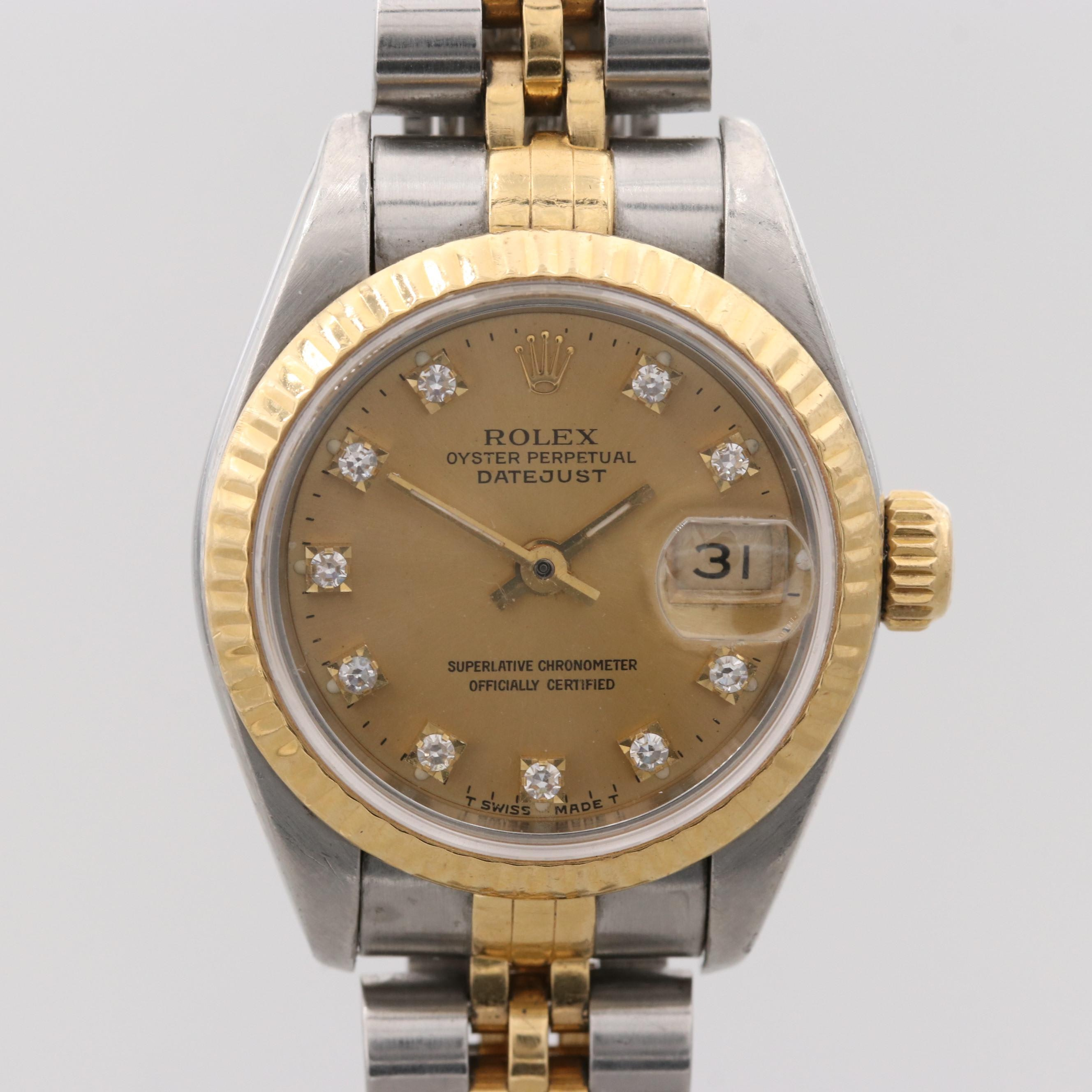 Rolex Datejust Stainless Steel and 18K Yellow Gold Wristwatch With Diamond Dial