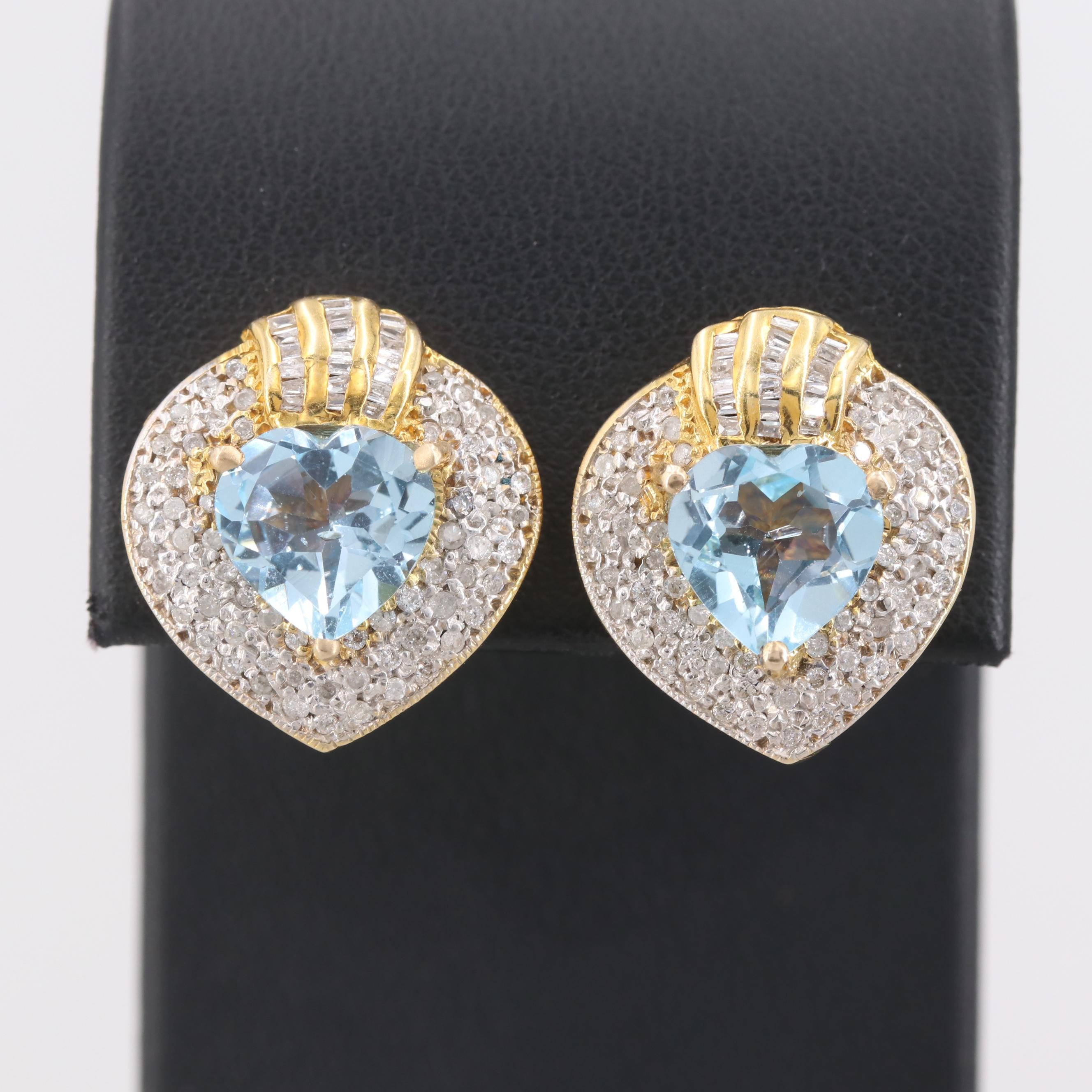 14K Yellow Gold Topaz and 1.02 CTW Diamond Earrings