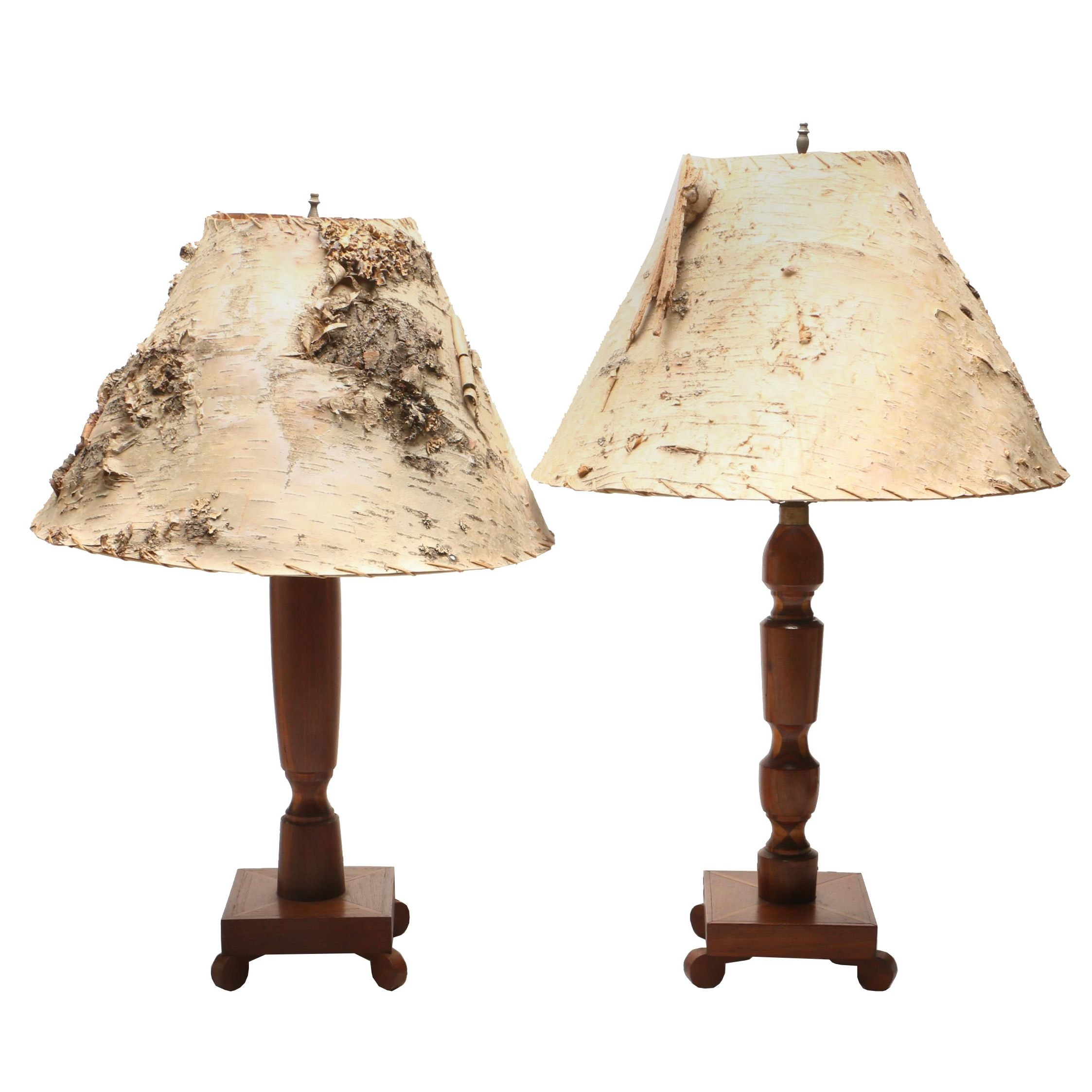 Turned Wood Table Lamps with Bark Shades