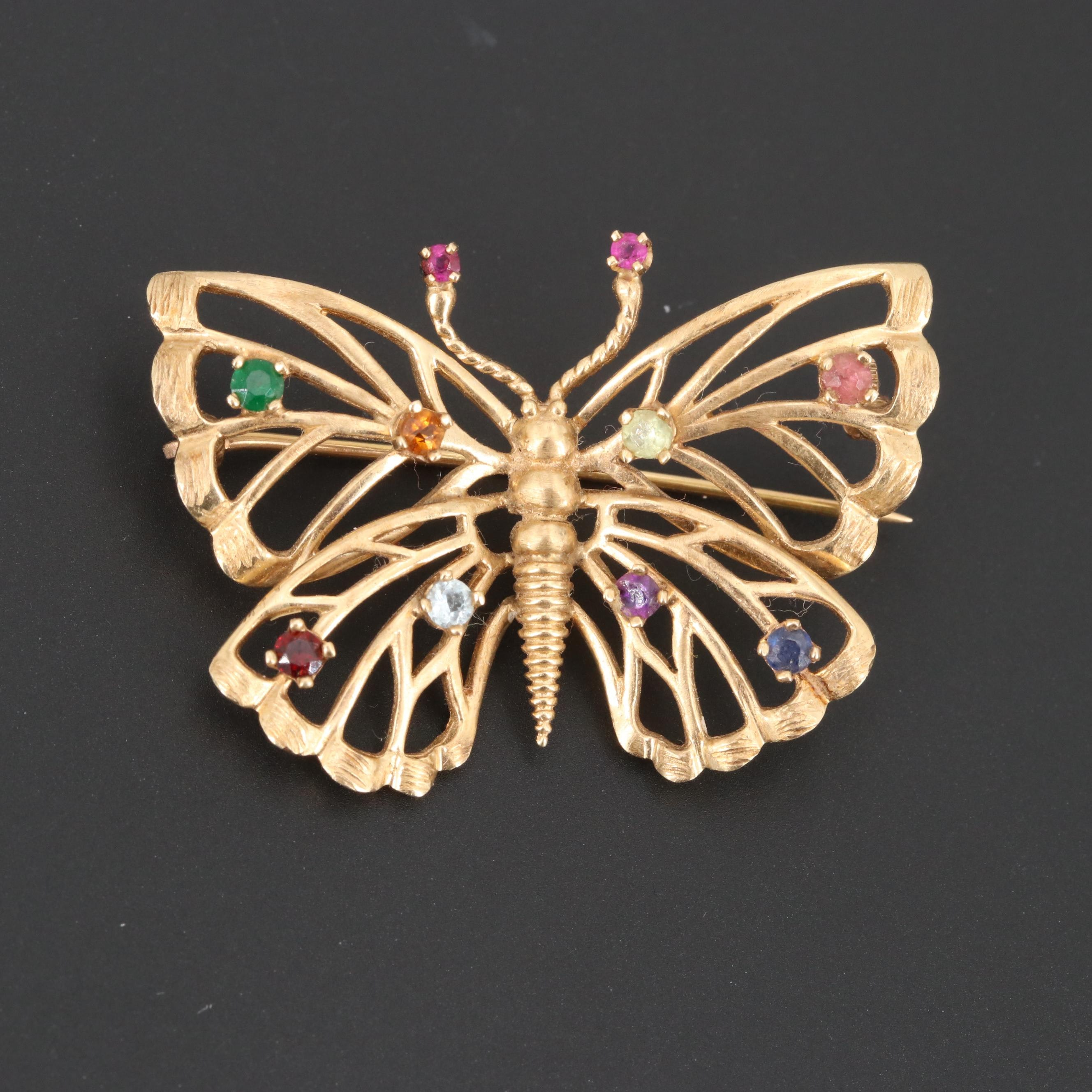 14K Yellow Gold Gemstone Butterfly Brooch Featuring Ruby and Aquamarine