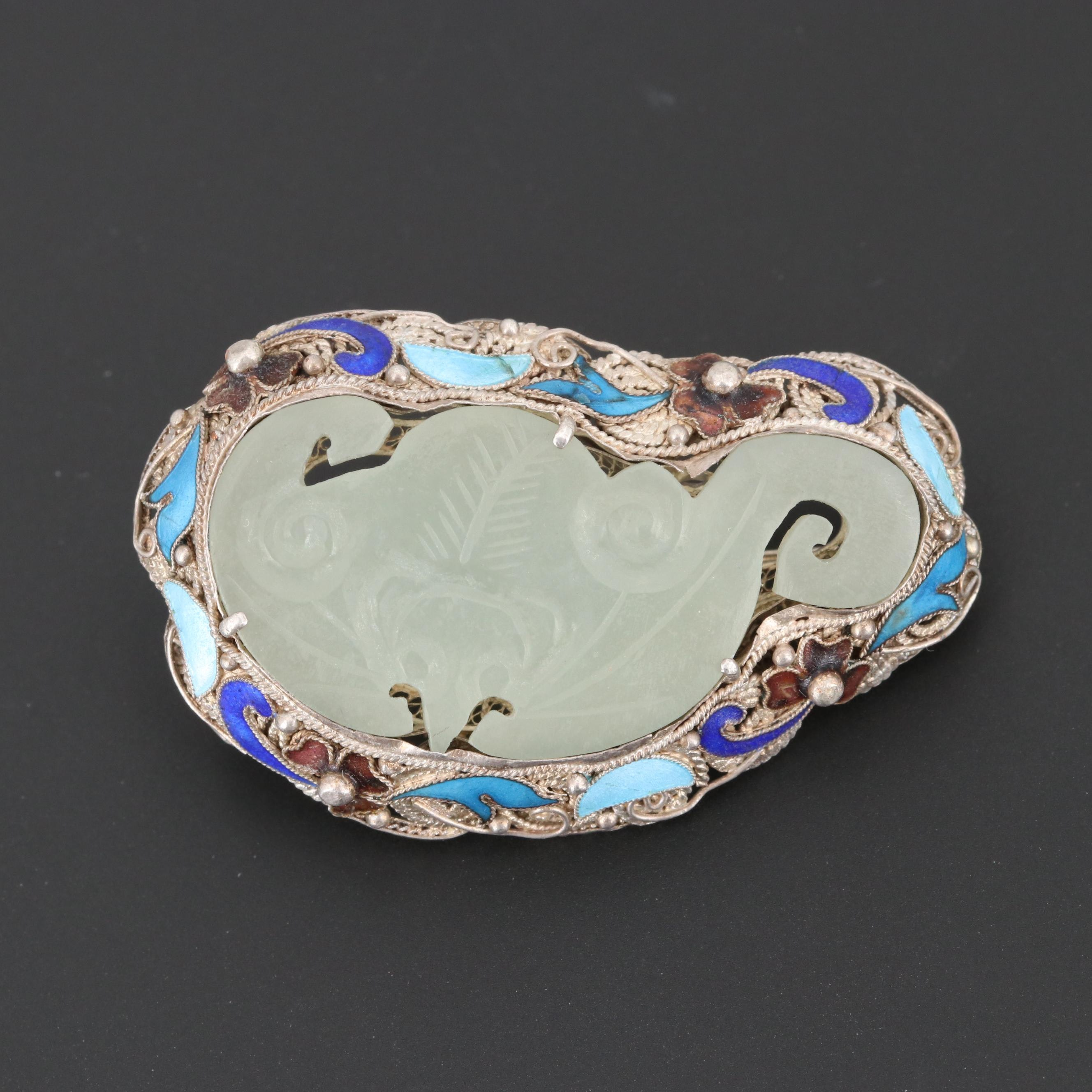 Chinese Sterling Silver Carved Nephrite Bat Brooch with Enamel Accents