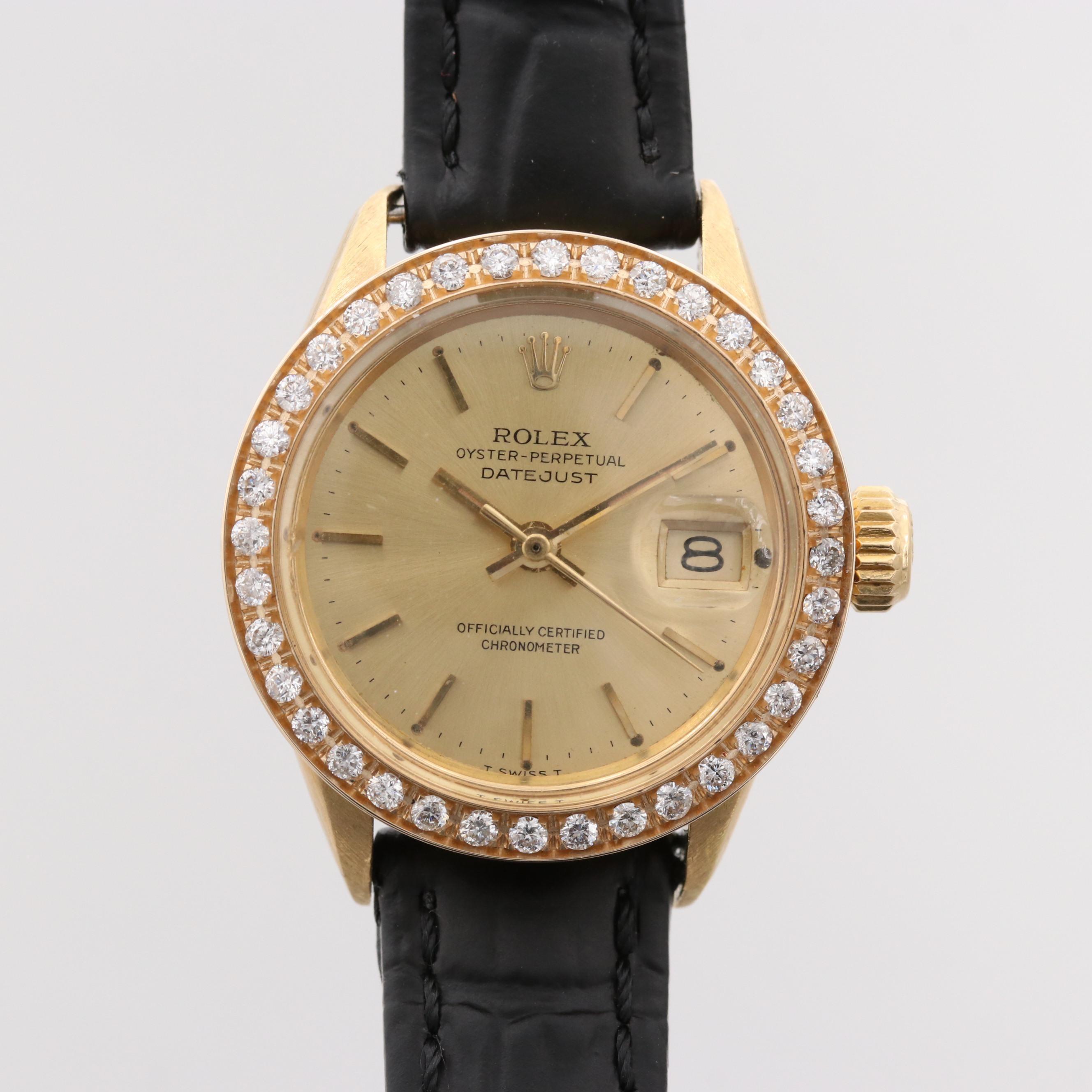 Rolex Datejust 18K Yellow Gold Wristwatch With Diamond Bezel, 1966