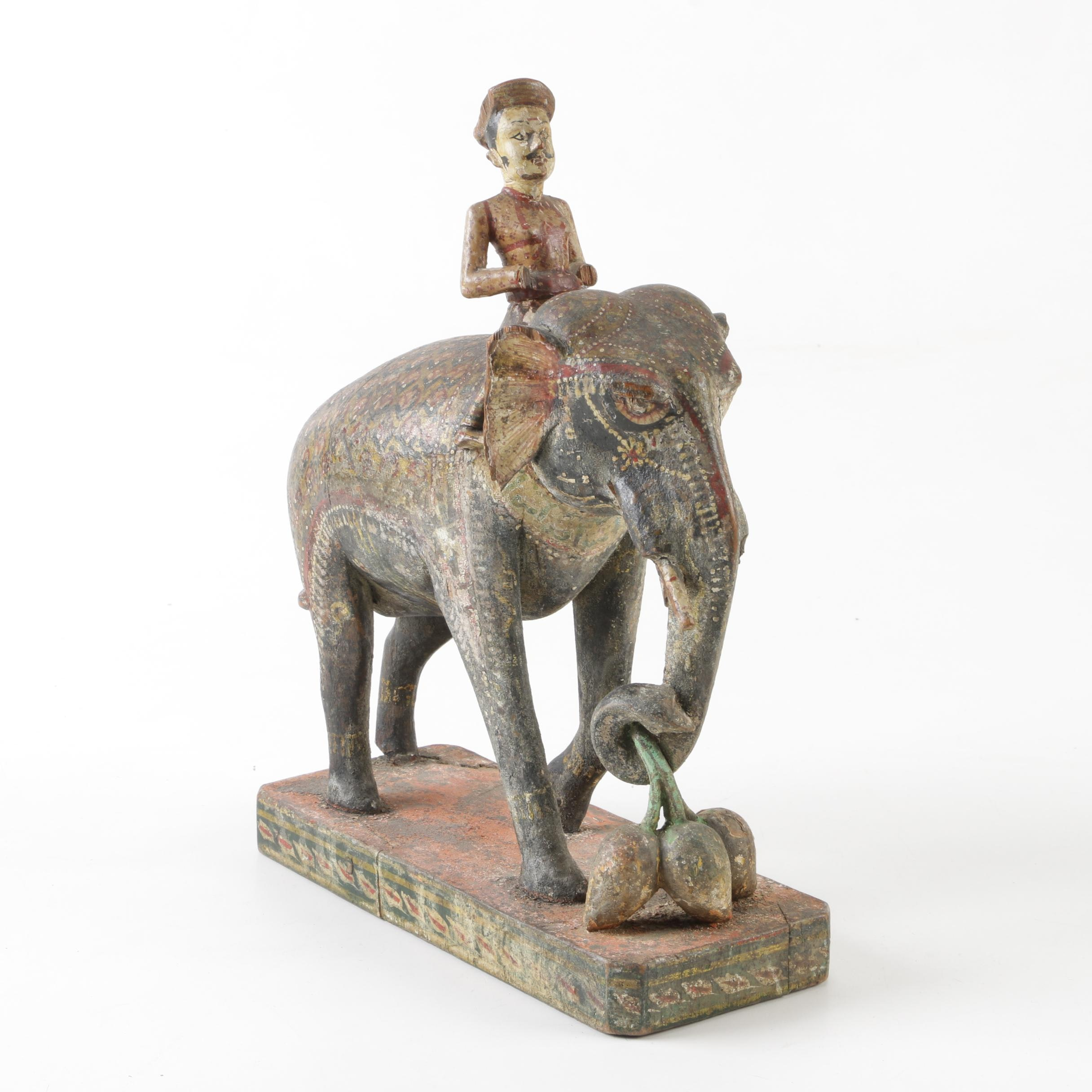Indian Polychrome Wood Elephant with Rider and Mango Cluster, 19th Century