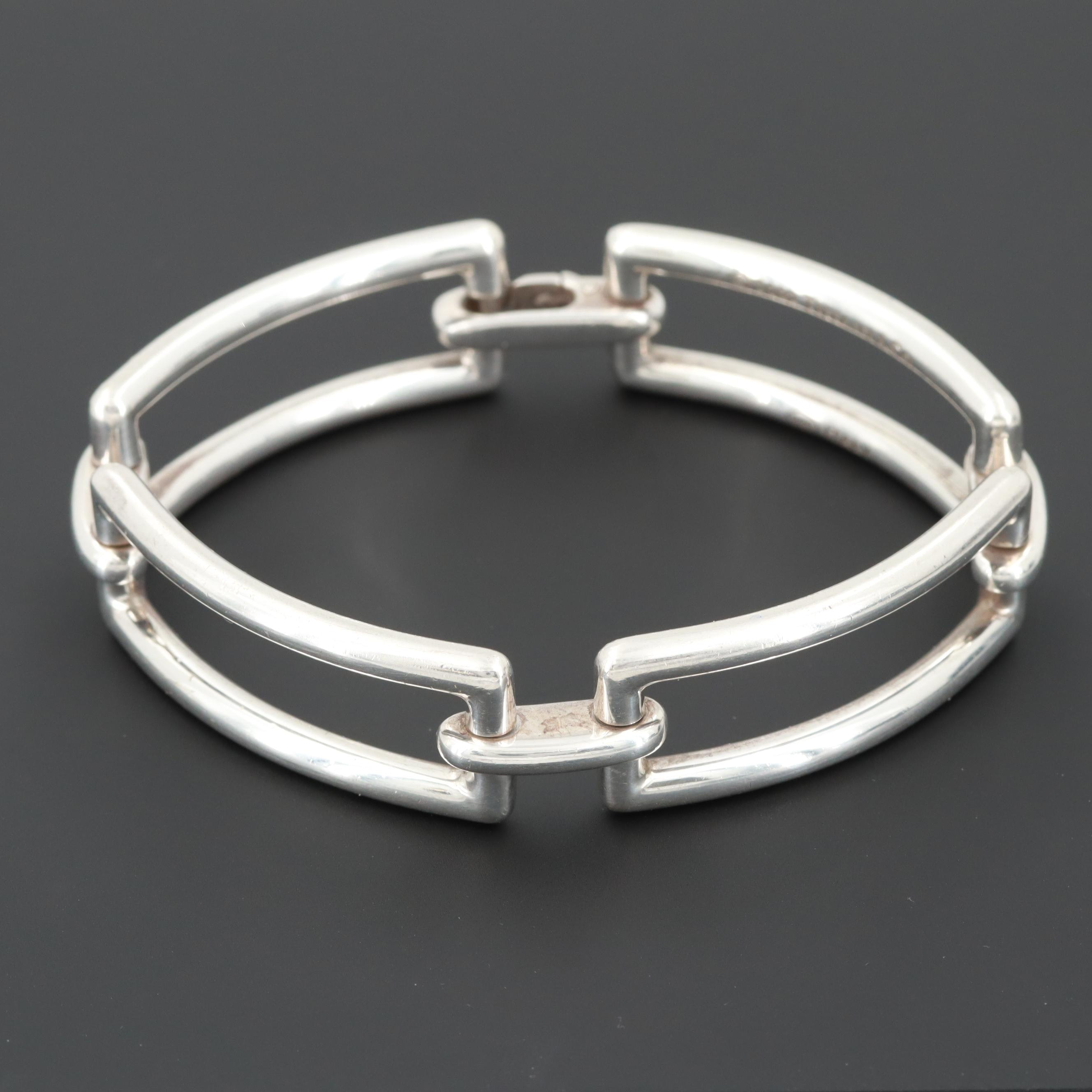 Tiffany & Co. Sterling Silver Modern Rectangle Gate Bracelet