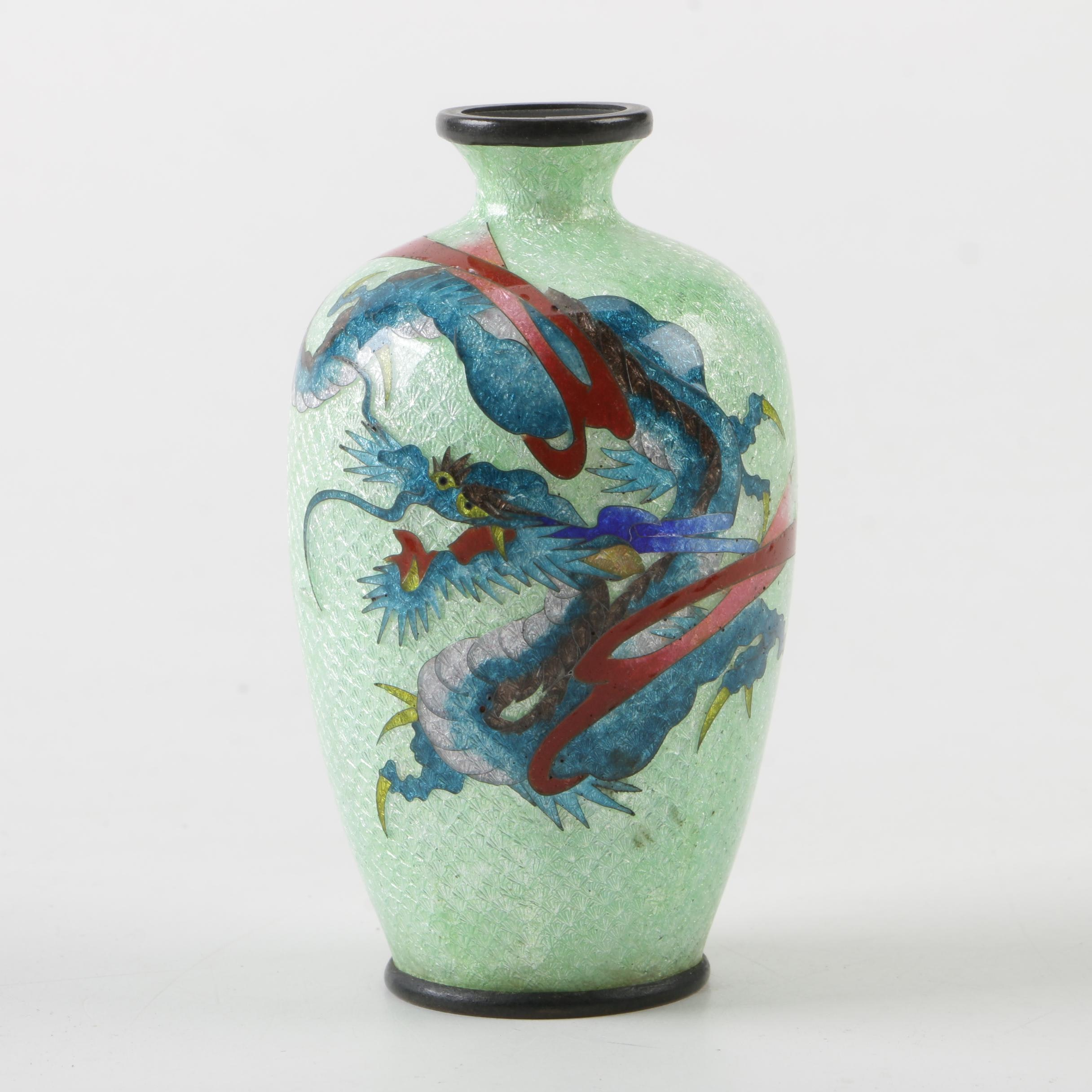 Japanese Ginbari and Cloisonné Brass Bud Vase, Late Meiji Period