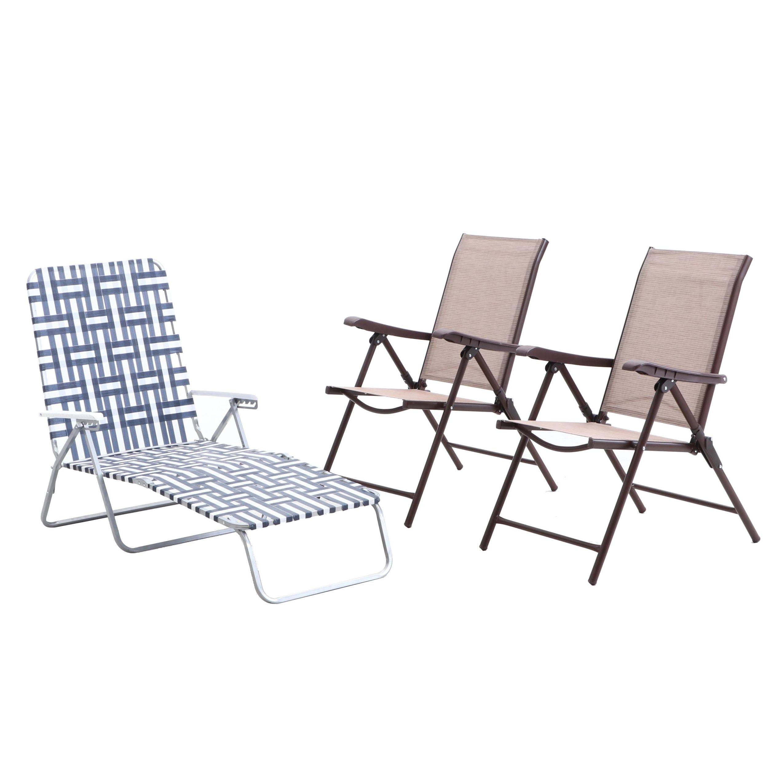 Apex Living Folding Patio Chairs and Chaise Lounge