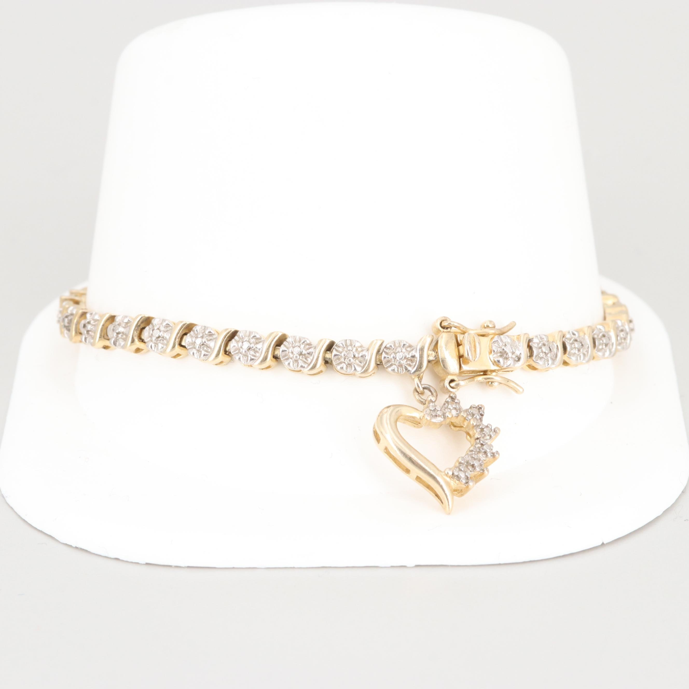 Gold Wash on Sterling Silver Diamond Bracelet with Heart Charm