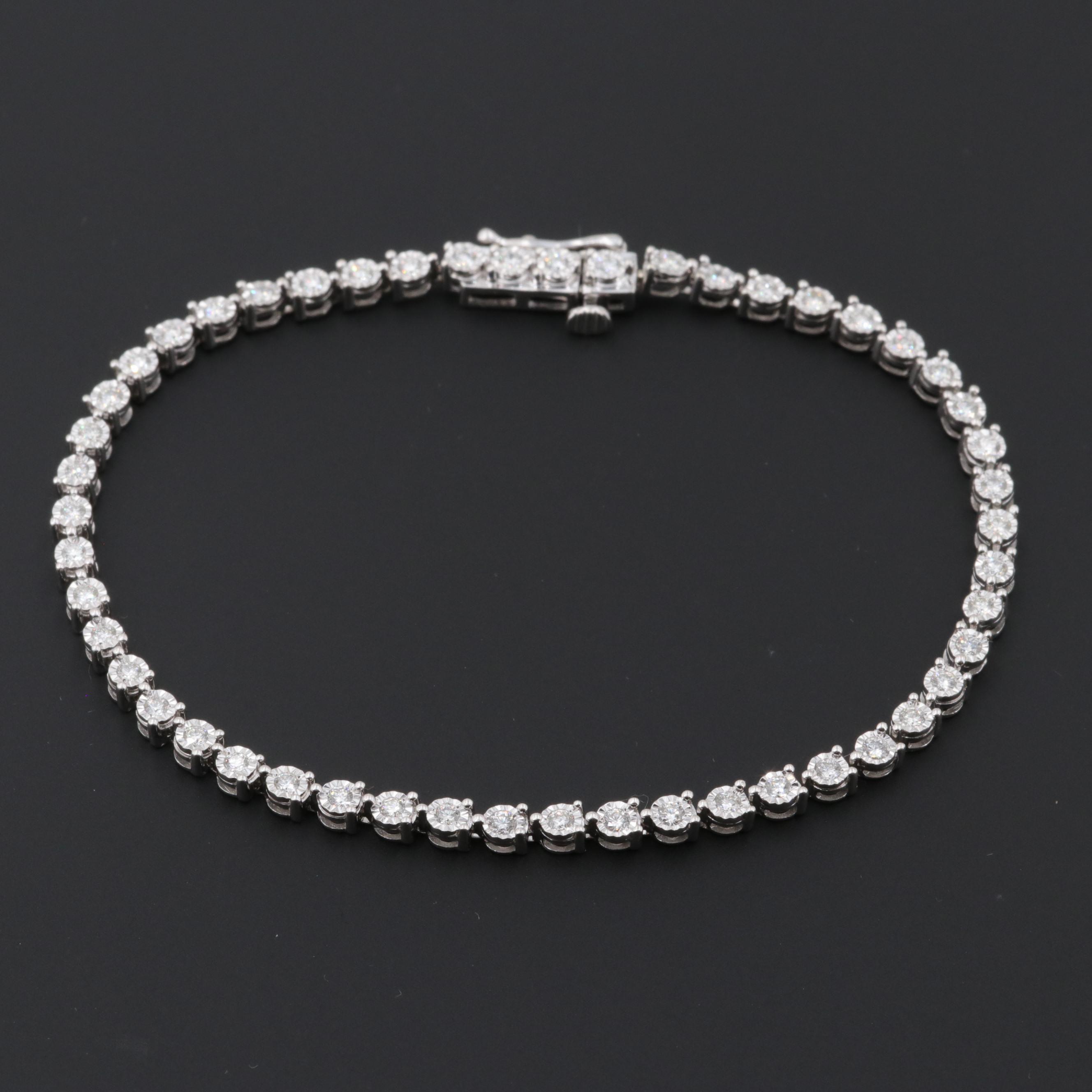14K White Gold 1.12 CTW Diamond Tennis Bracelet
