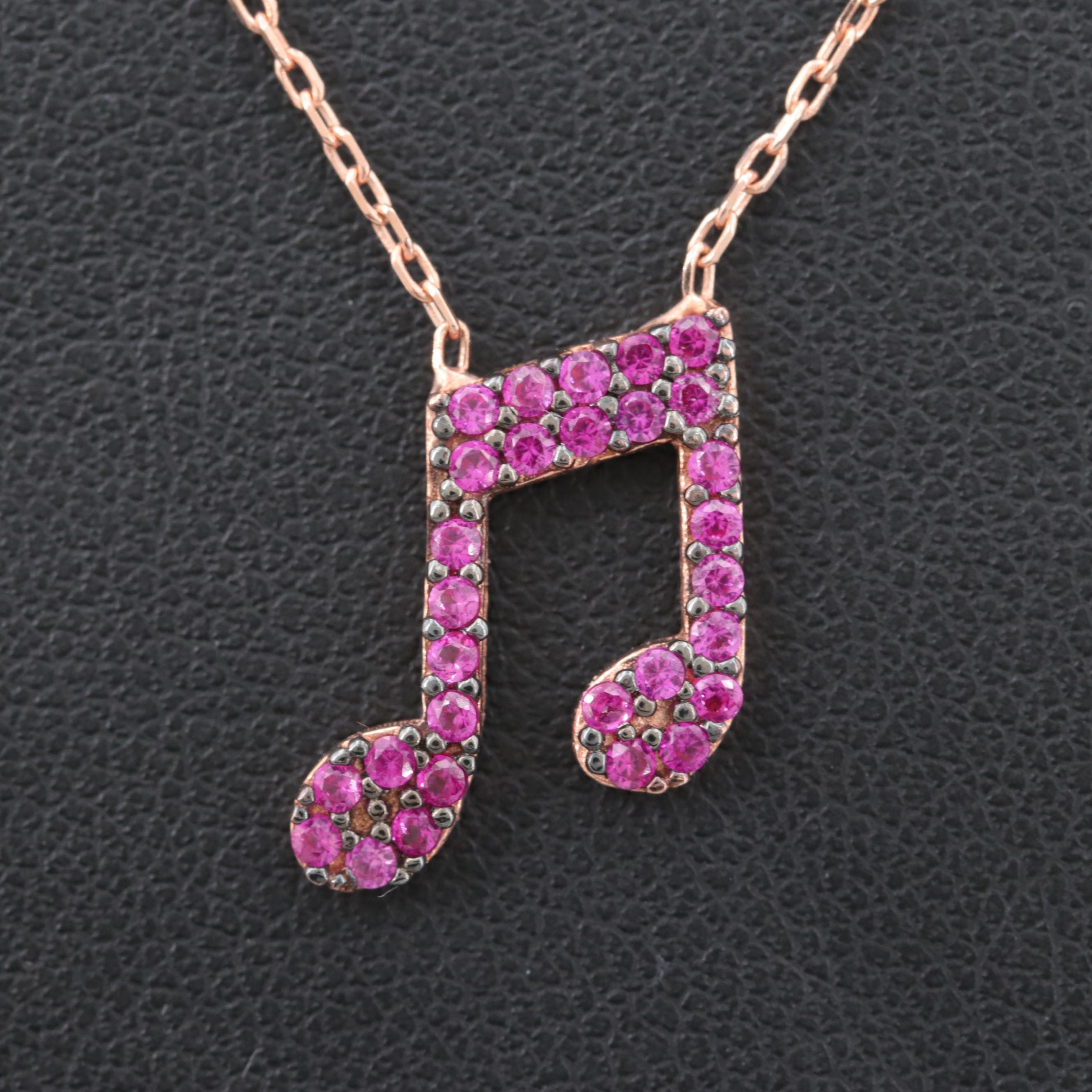 Rose Gold Wash on Sterling Silver Synthetic Ruby Necklace