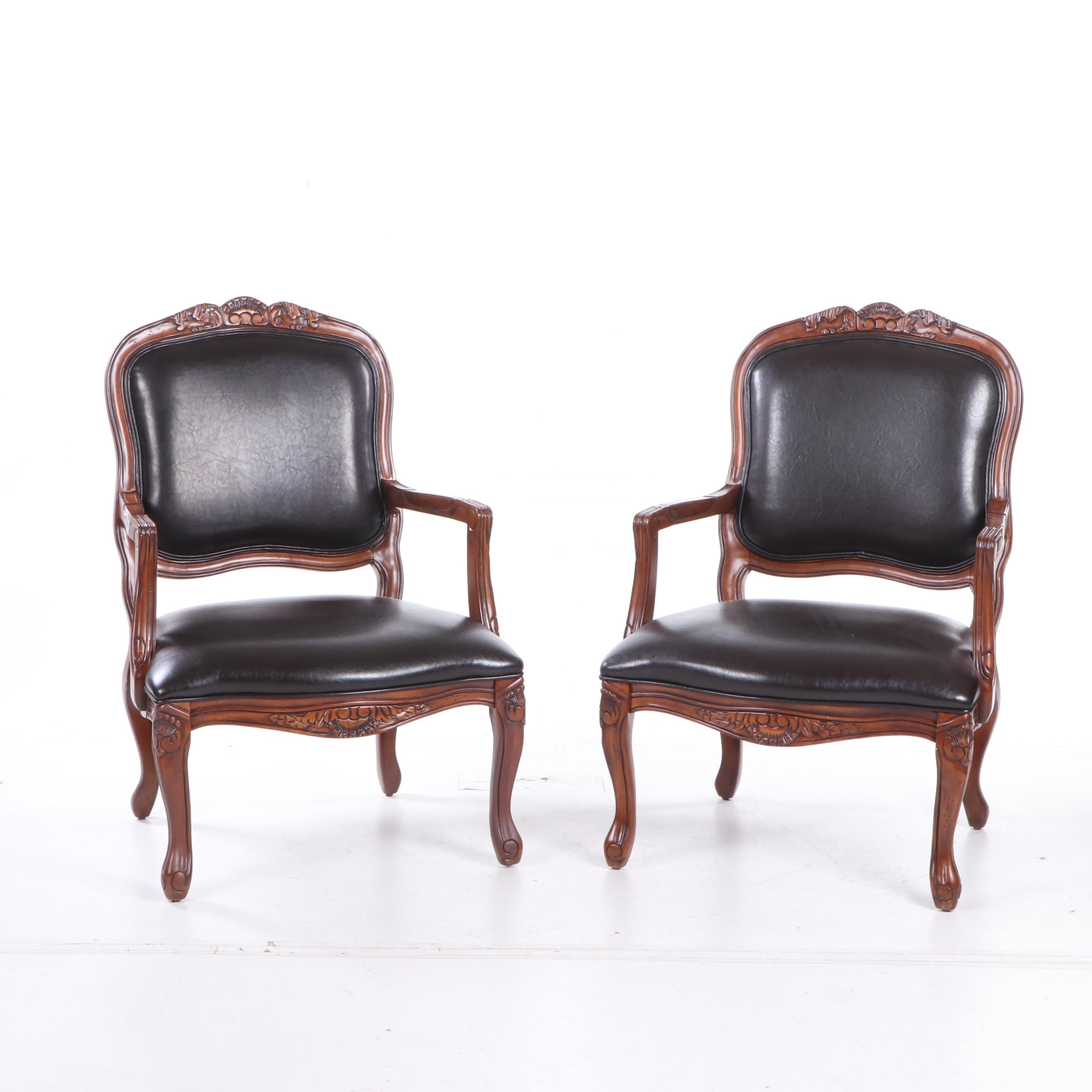 Louis XV Style Upholstered Armchairs, Contemporary