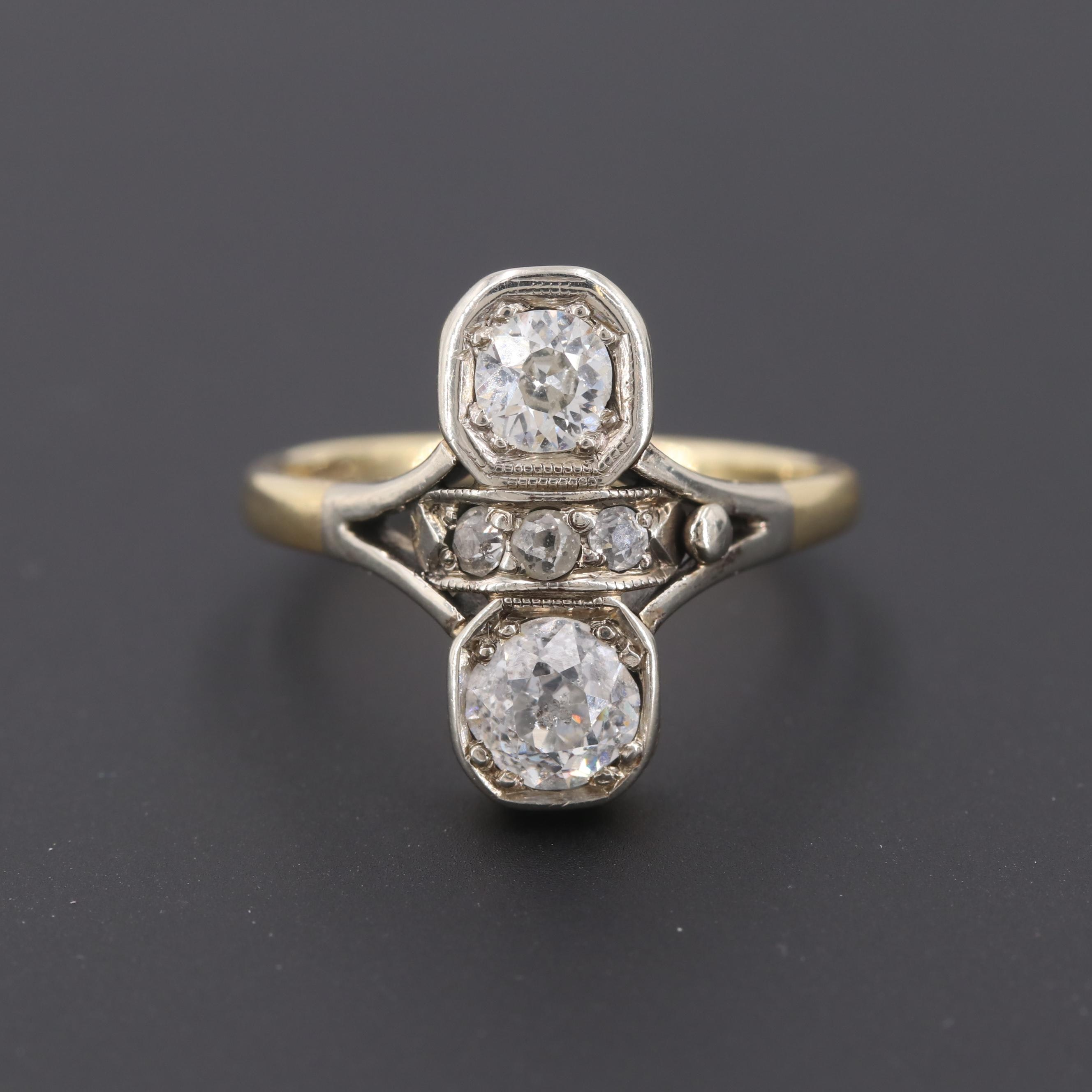 Art Deco 14K Yellow Gold 1.09 CTW Diamond Ring
