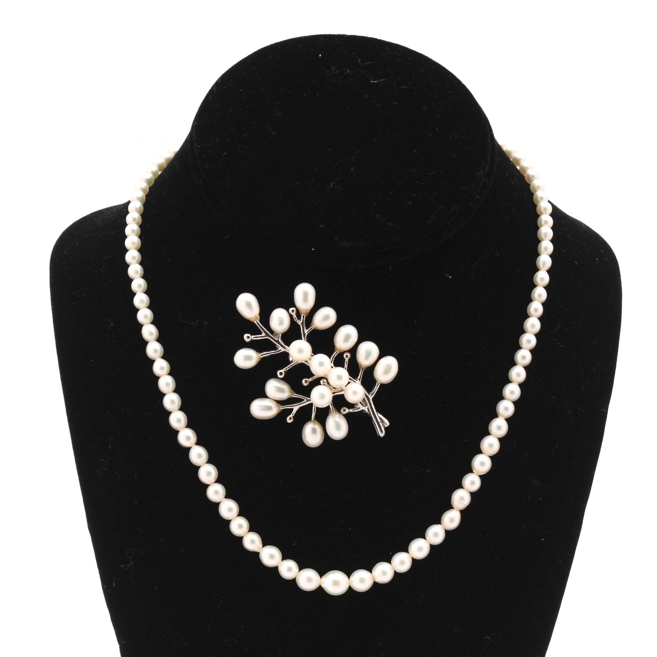 Cultured Freshwater Pearl Necklace and Brooch