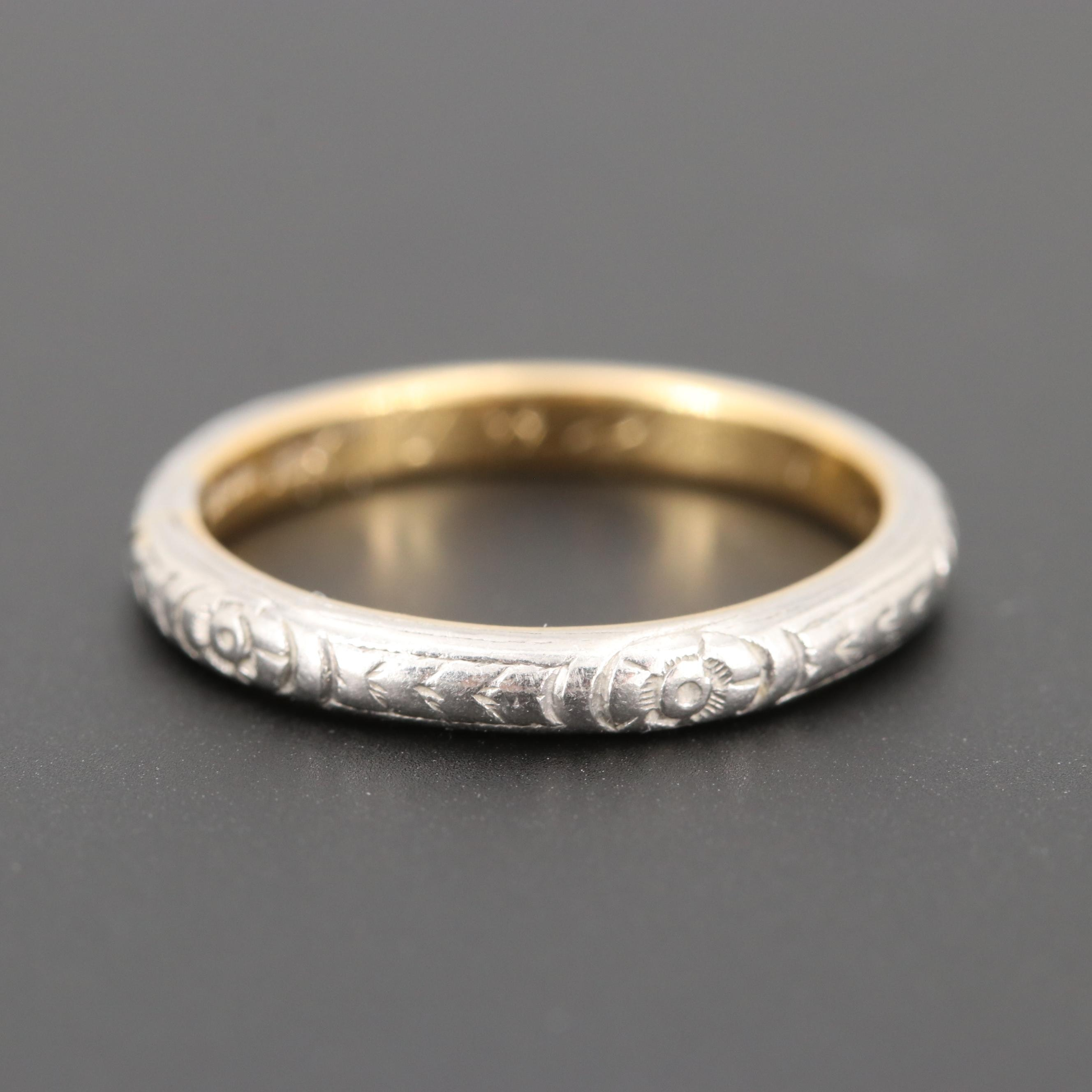 Vintage 18K Yellow Gold and Platinum Engraved Band
