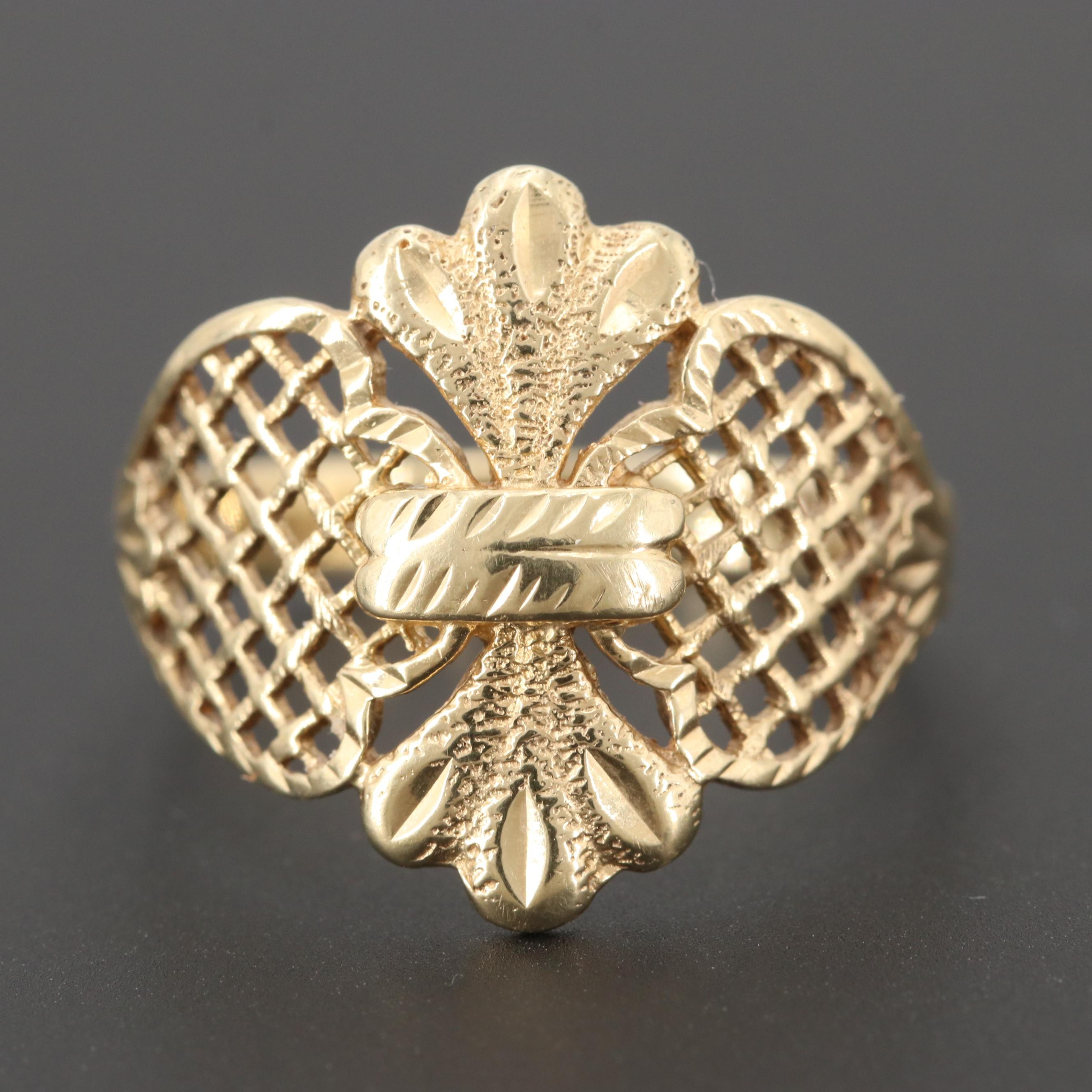 14K Yellow Gold Openwork Design Ring