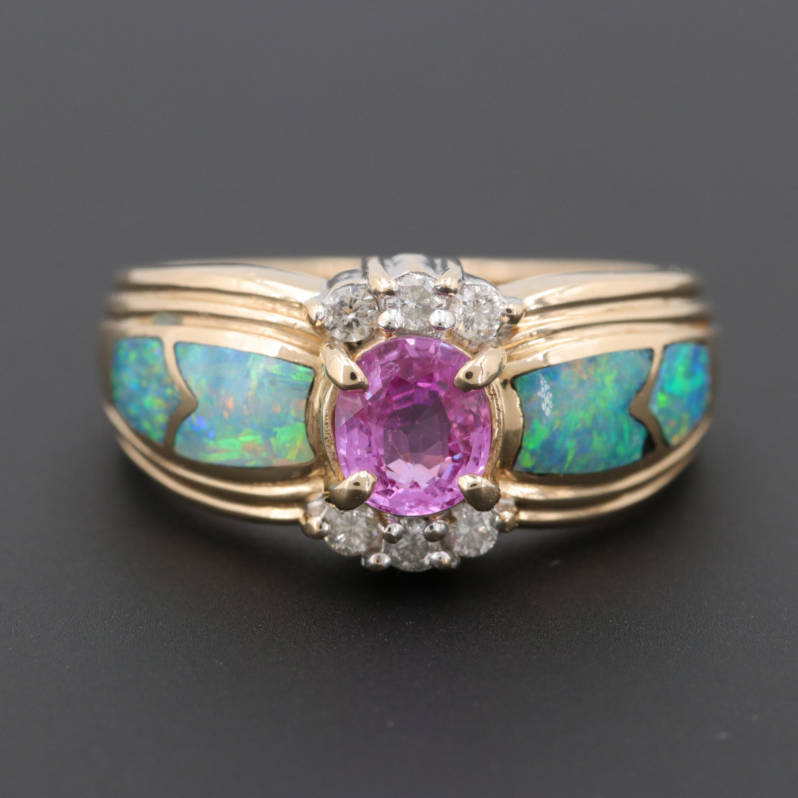 14K Yellow Gold Pink Sapphire, Diamond and Opal Ring