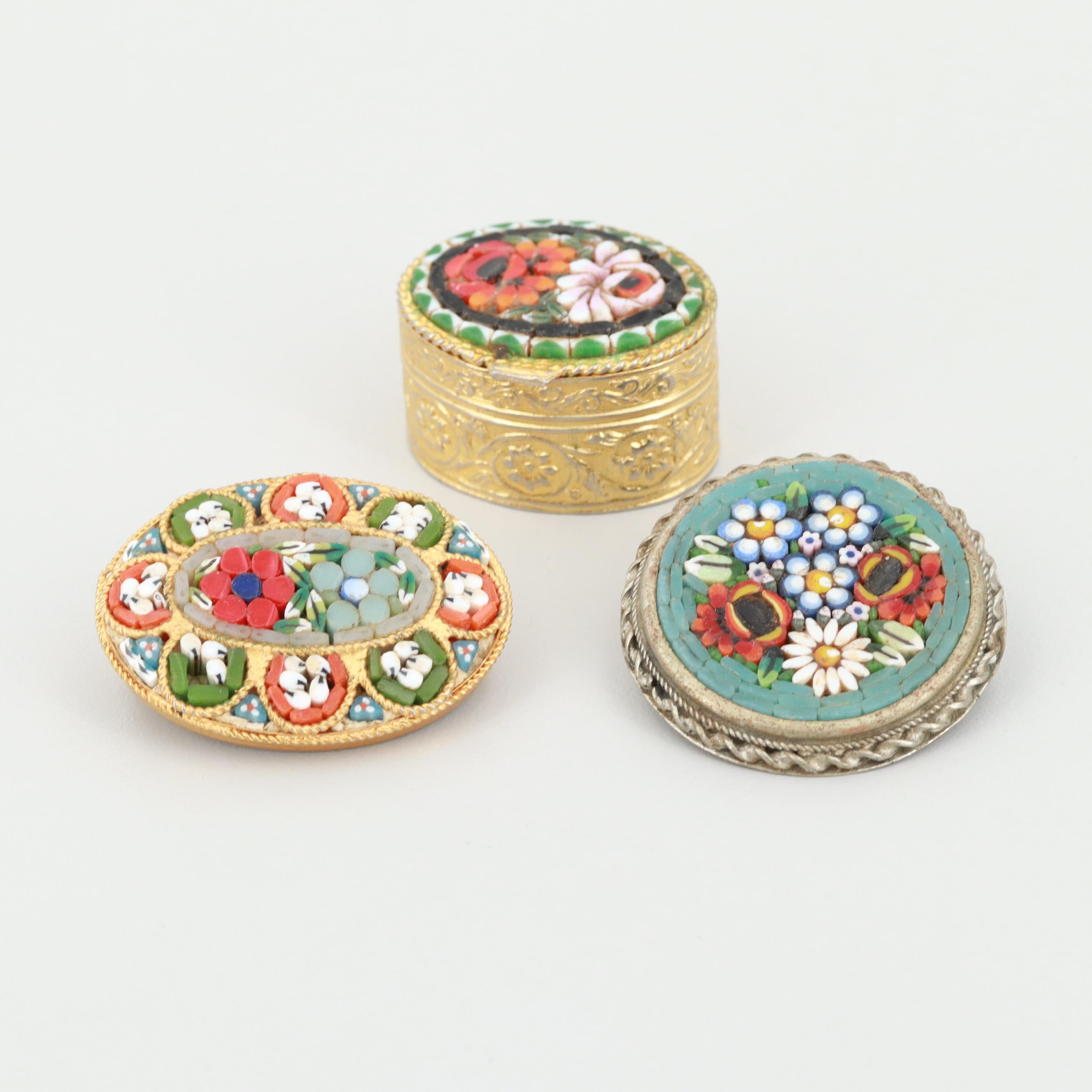 Gold and Silver Tone Glass and Enamel Micro Mosaic Floral Brooches and Pill Box