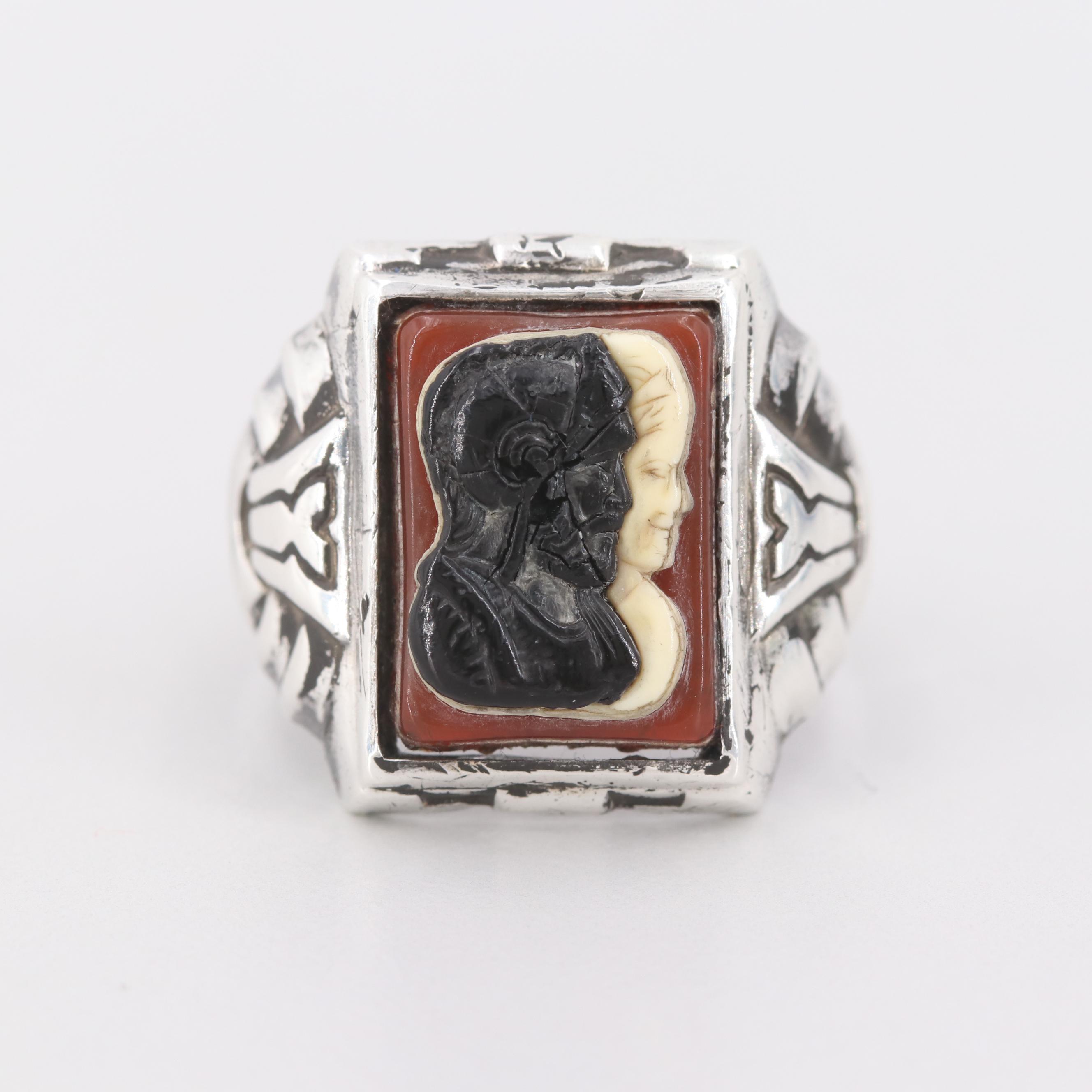 Vintage Uncas Sterling Silver Imitation Sardonyx Double Warrior Cameo Ring