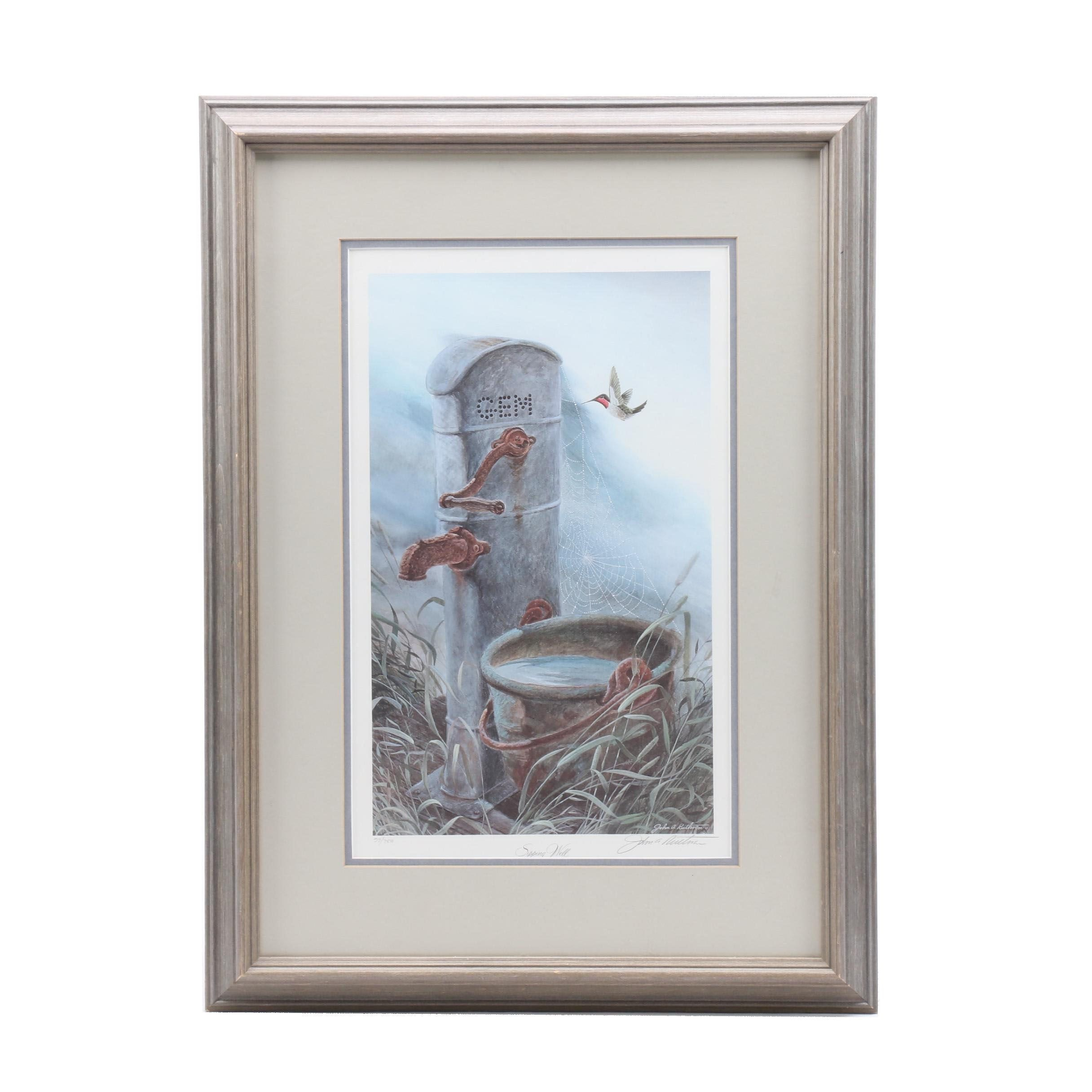 "John Ruthven Limited Edition Offset Lithograph ""Sipping Well"""