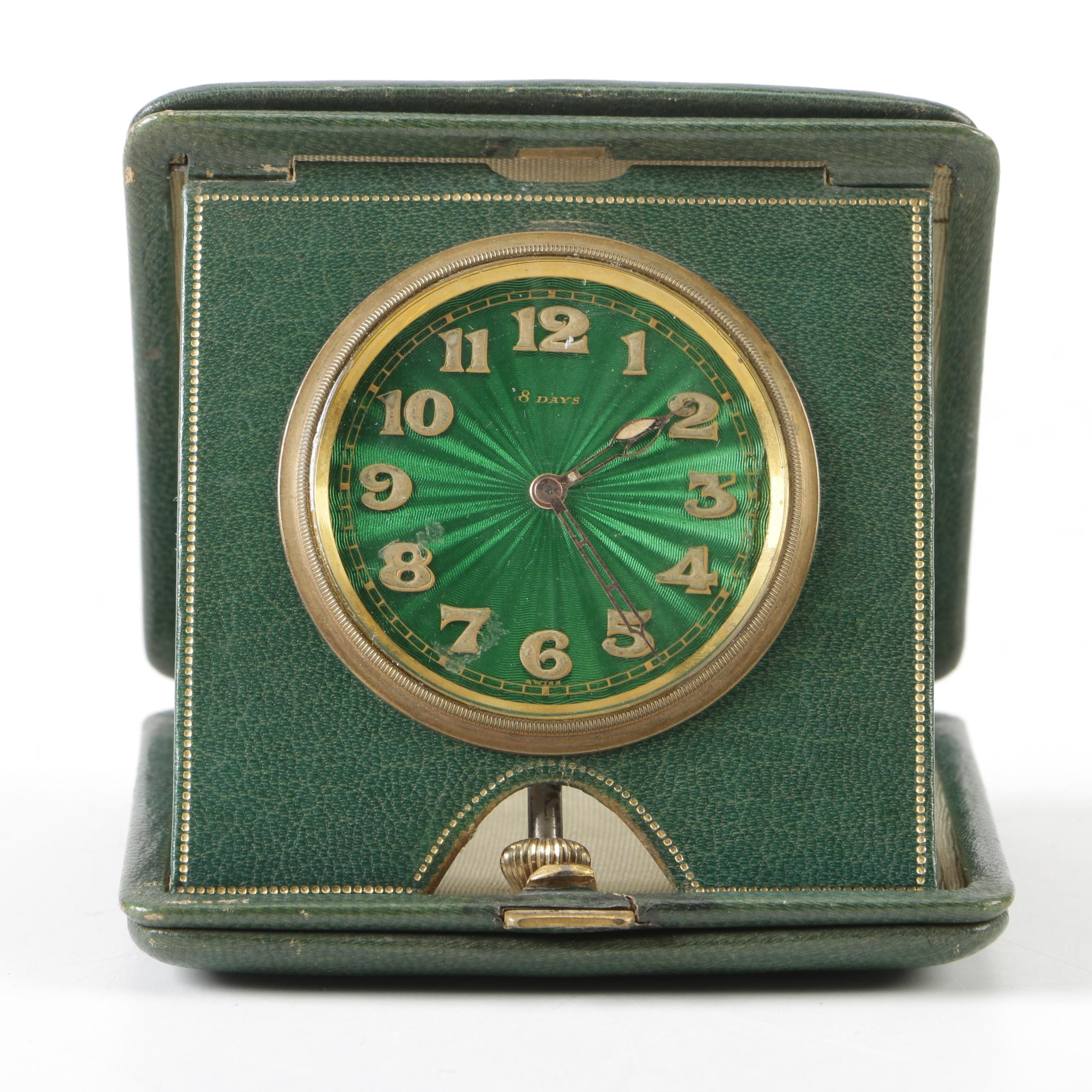 Swiss Made 8 Day Travel Alarm Clock in Leather Case