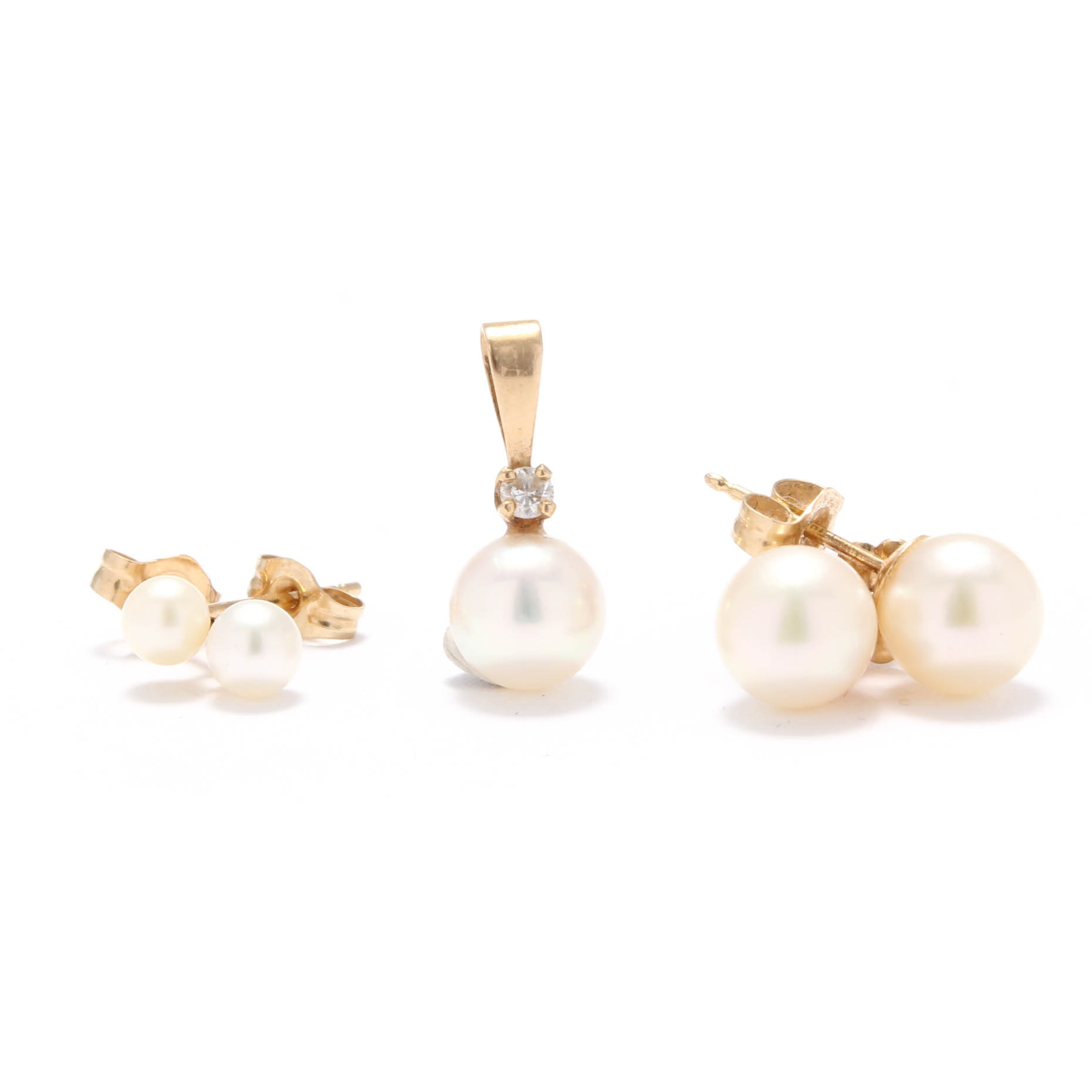 14K Yellow Gold Pearl Earrings and Pearl and Diamond Pendant