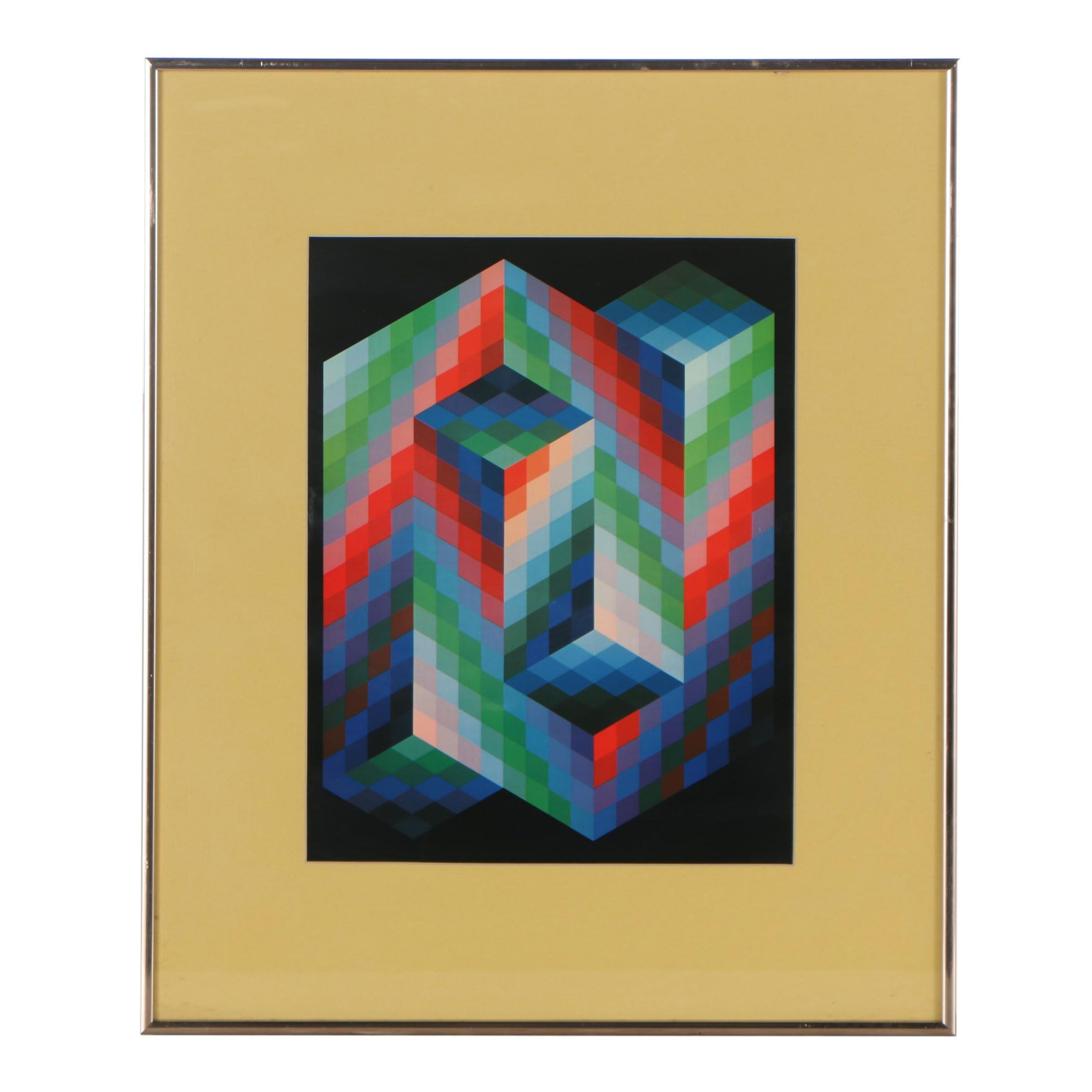 "Offset Lithograph after Victor Vasarely ""VAAR"""