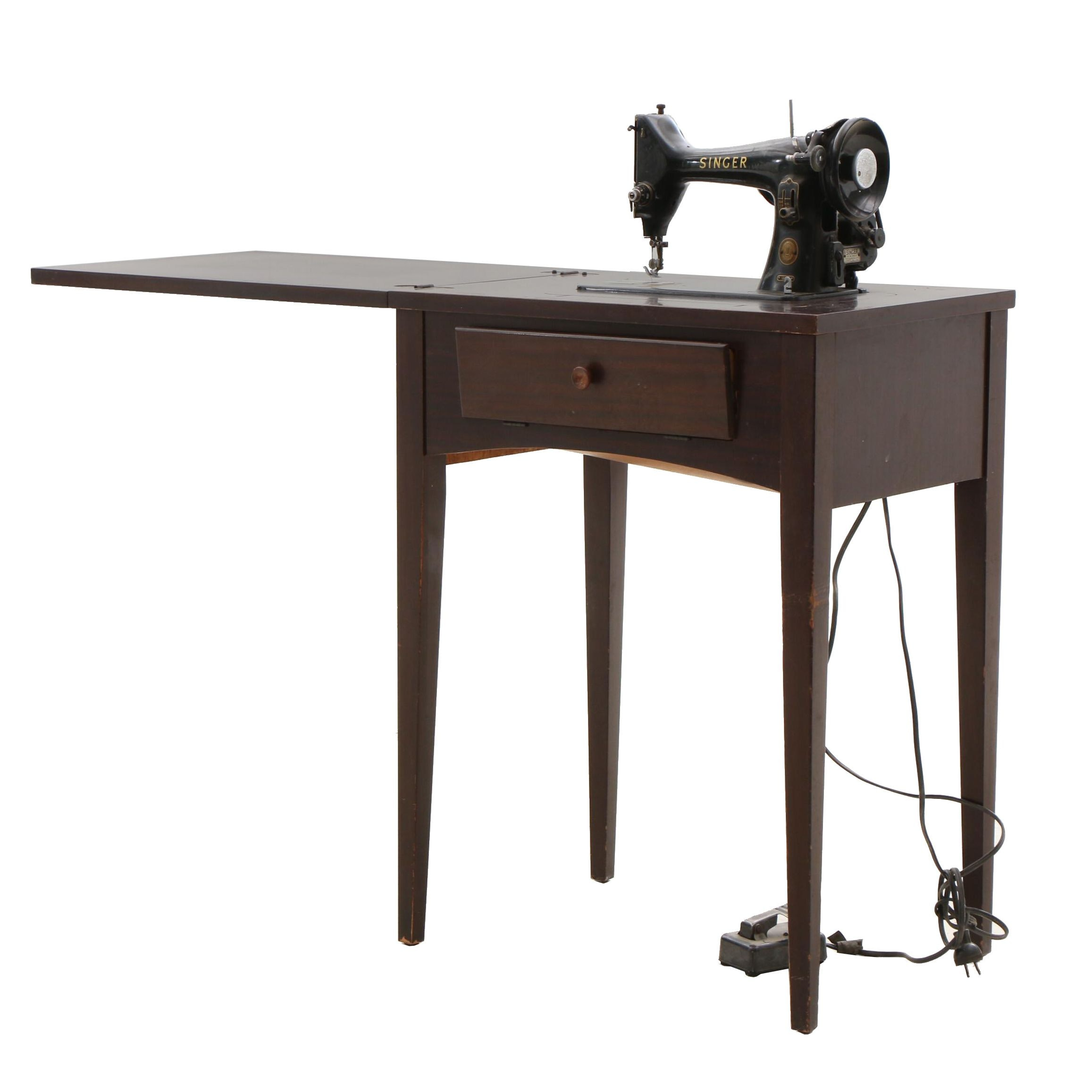 Vintage Mahogany Singer 99K Sewing Table