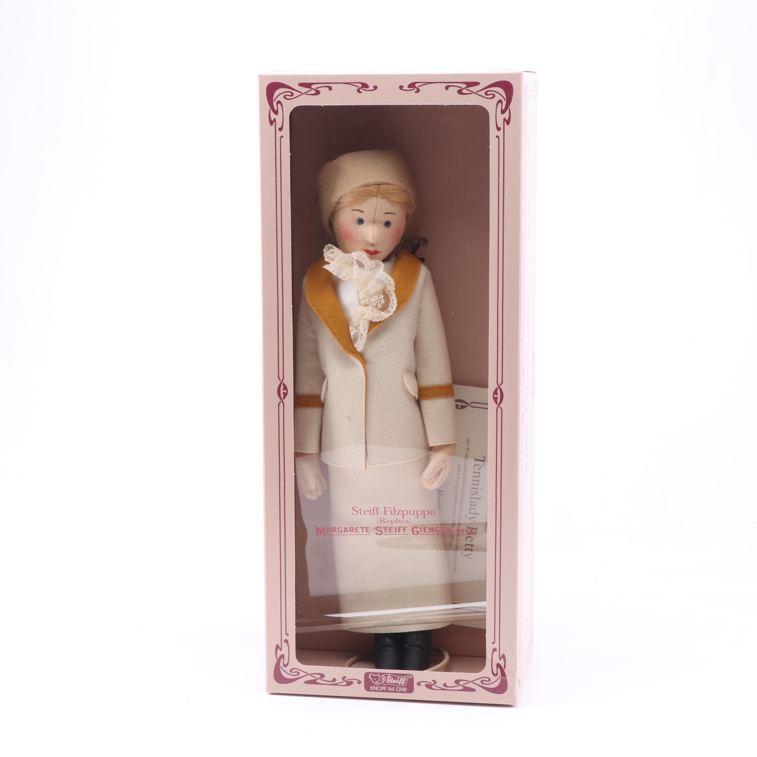 """Replica Steiff Felt Doll """"Tennislady Betty"""""""