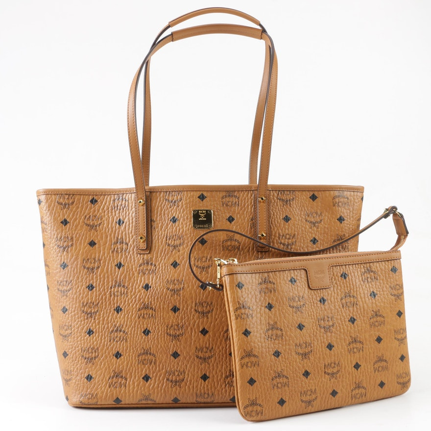 63cf40be0e MCM Cognac Visetos Coated Canvas Anya Tote with Removable Wristlet   EBTH