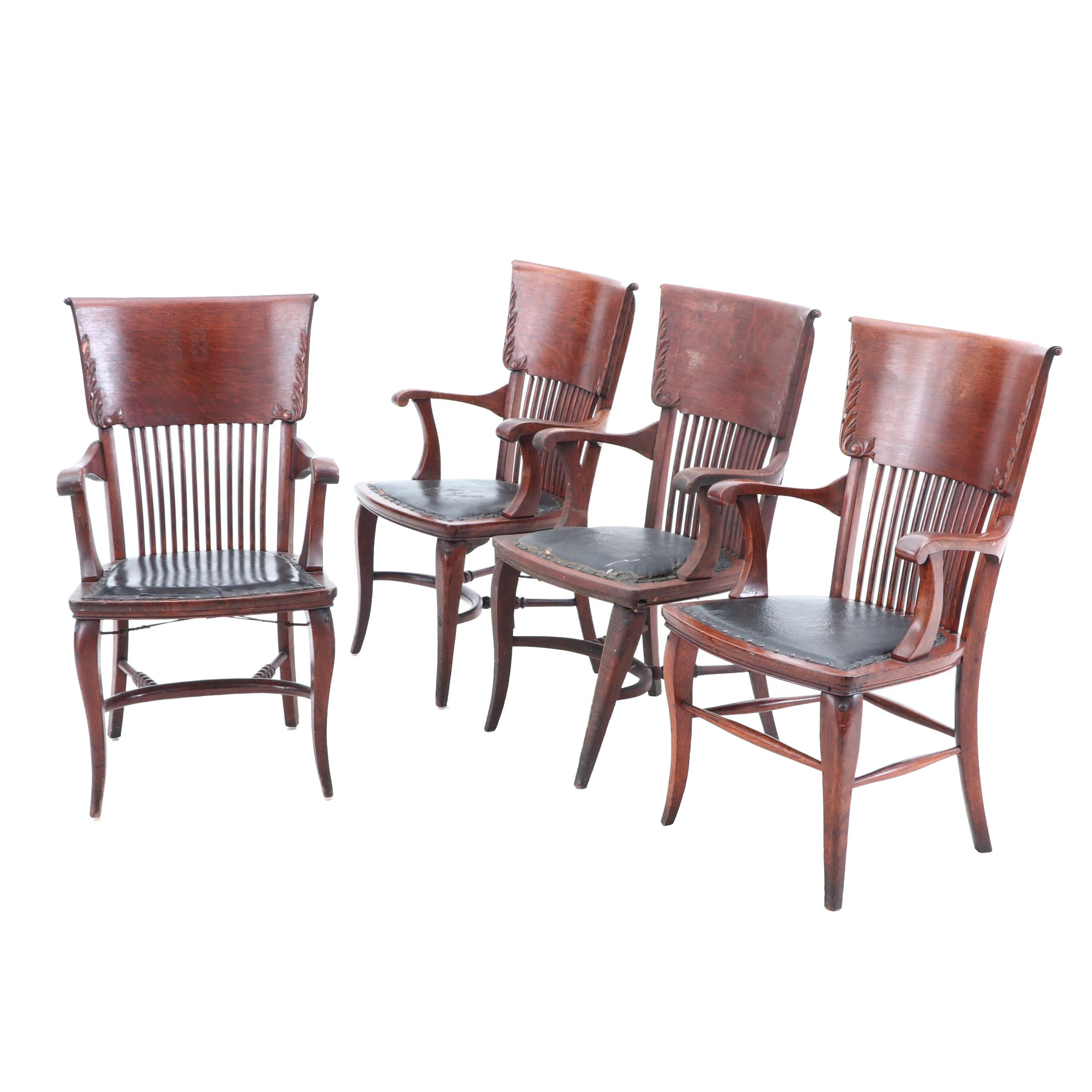Oak Juror Chairs, Early 20th Century
