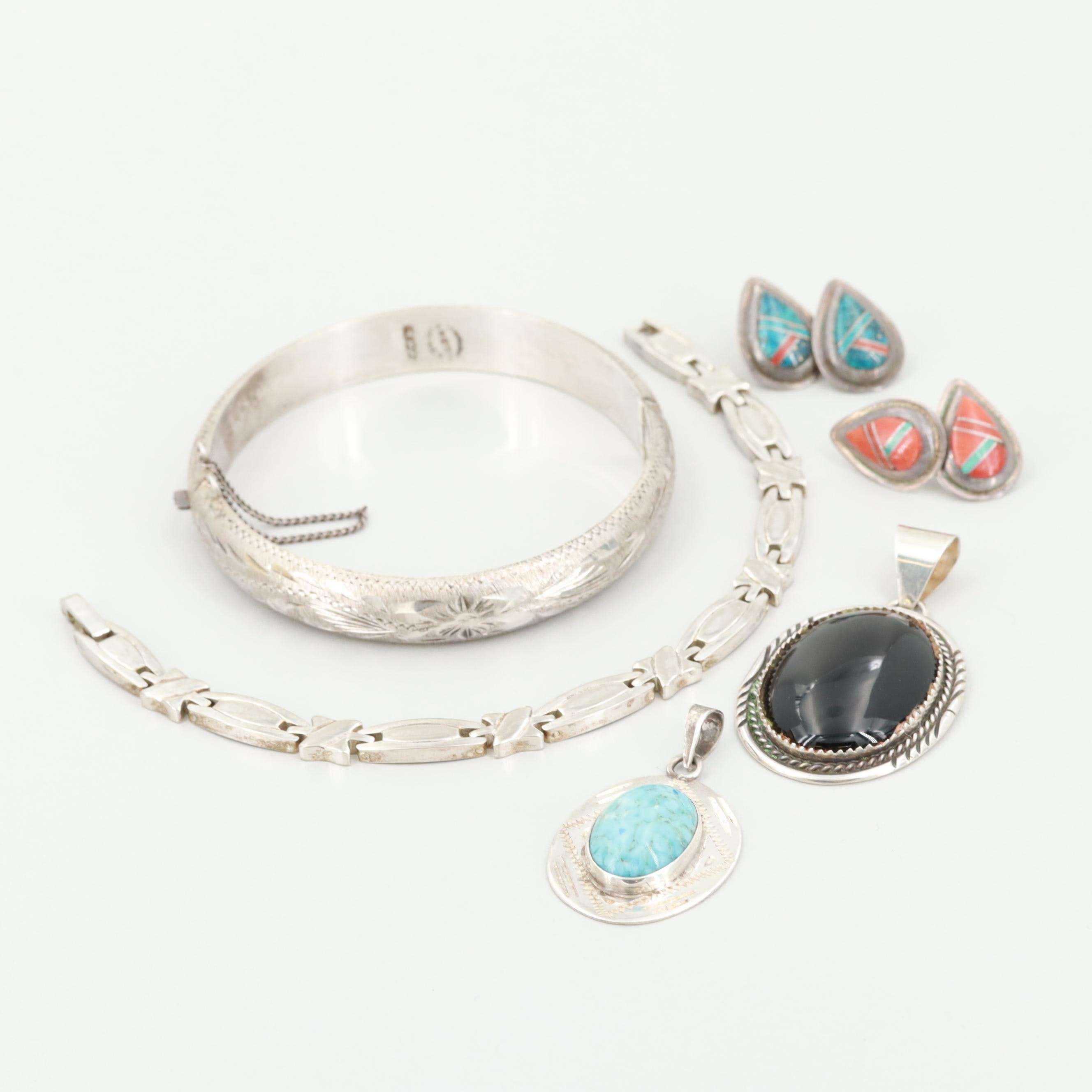 Sterling Silver Onyx, Coral and Turquoise Jewelry Featuring Mexican