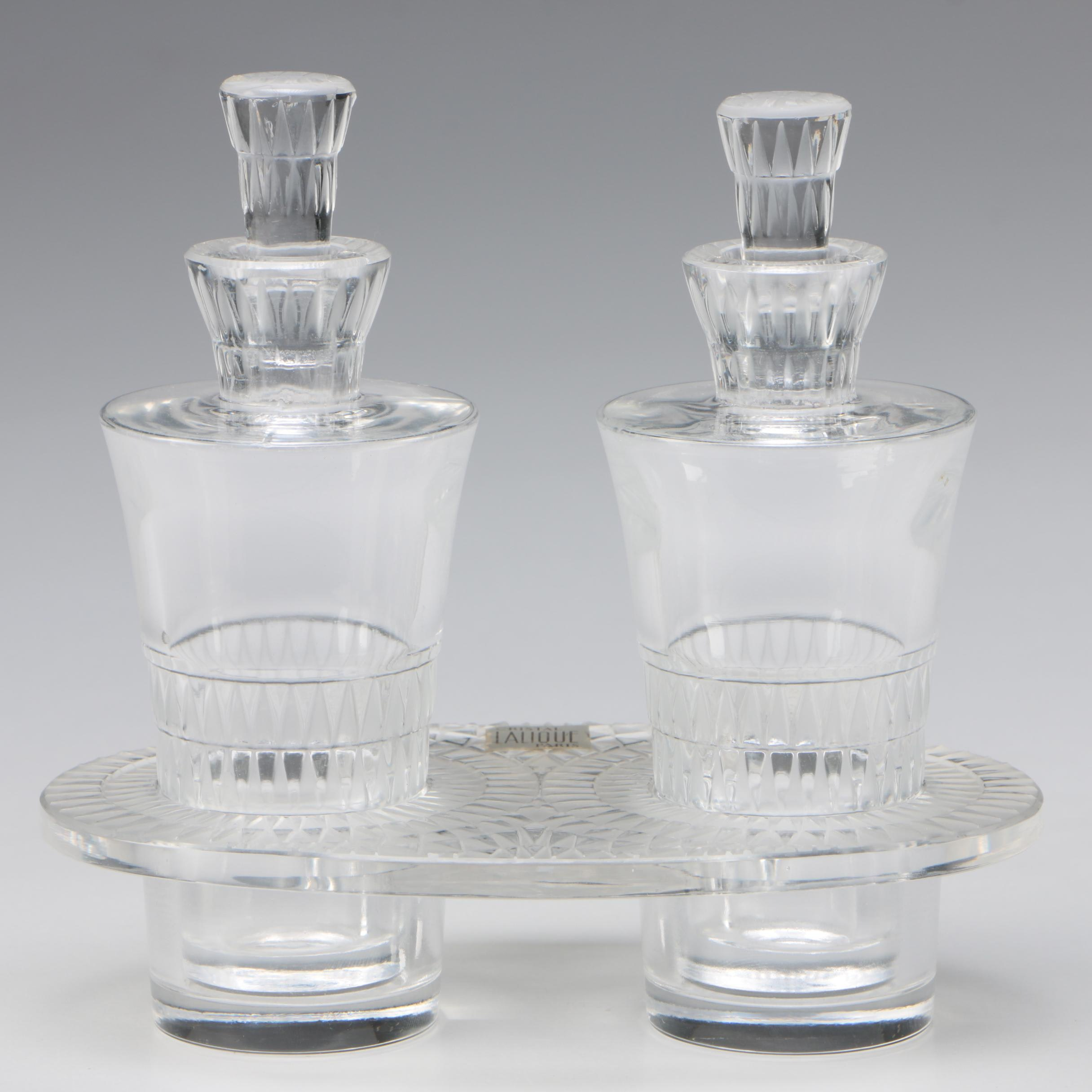 "Lalique ""Bourgueil"" Crystal Cruet Set"