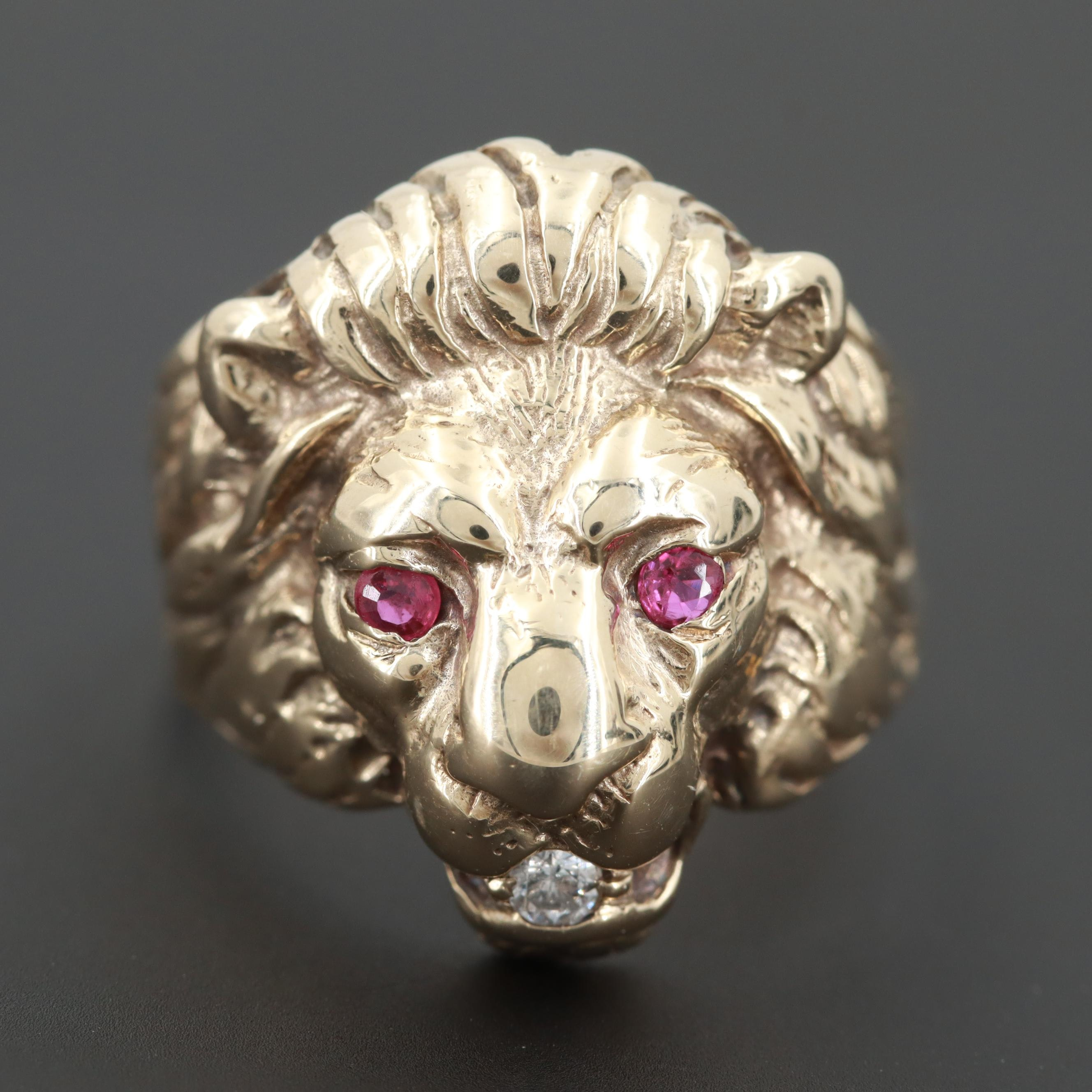 10K Yellow Gold Ruby and Diamond Lion Ring