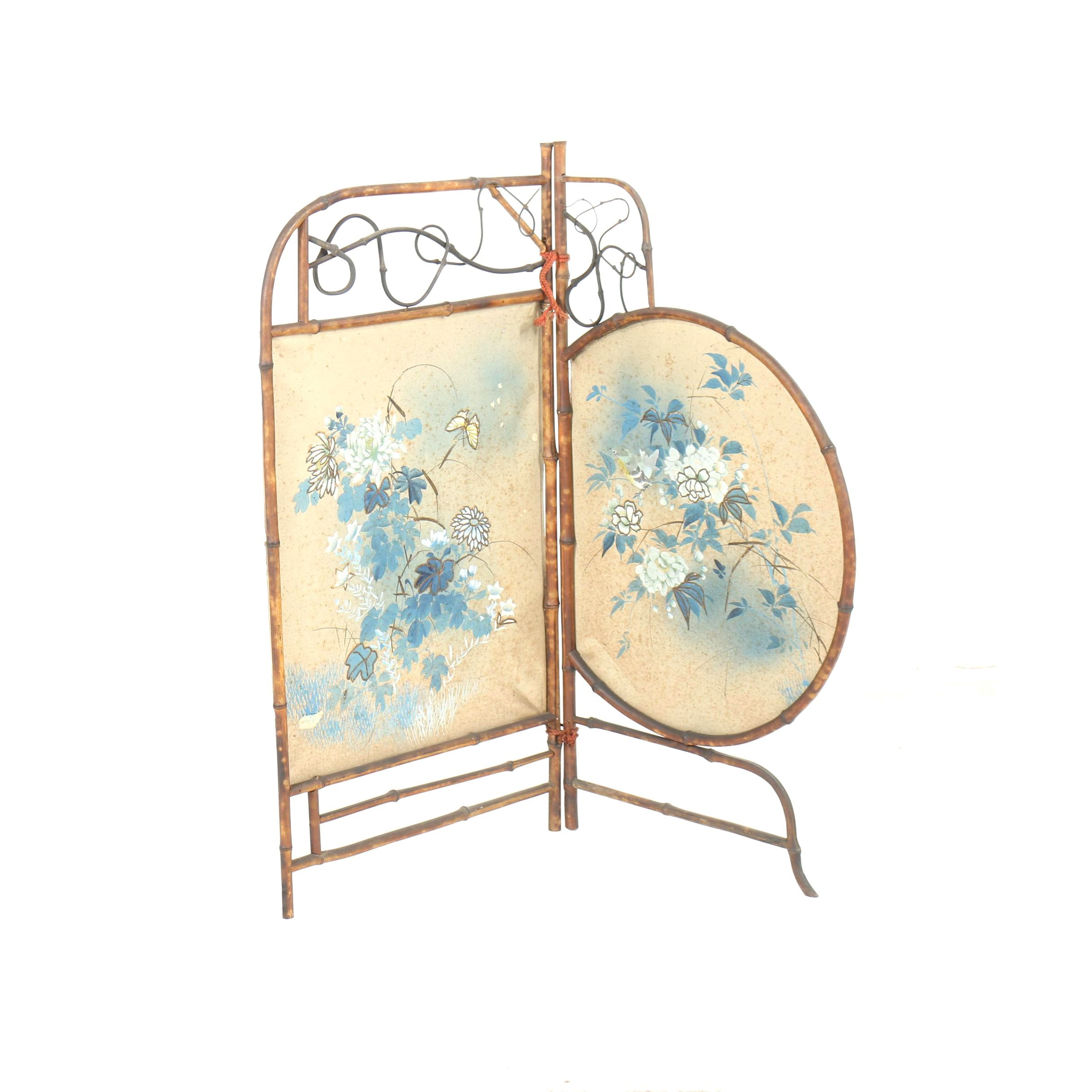 Chinoiserie Asymmetrical Folding Fireplace Screen with Embellished Paper Panels