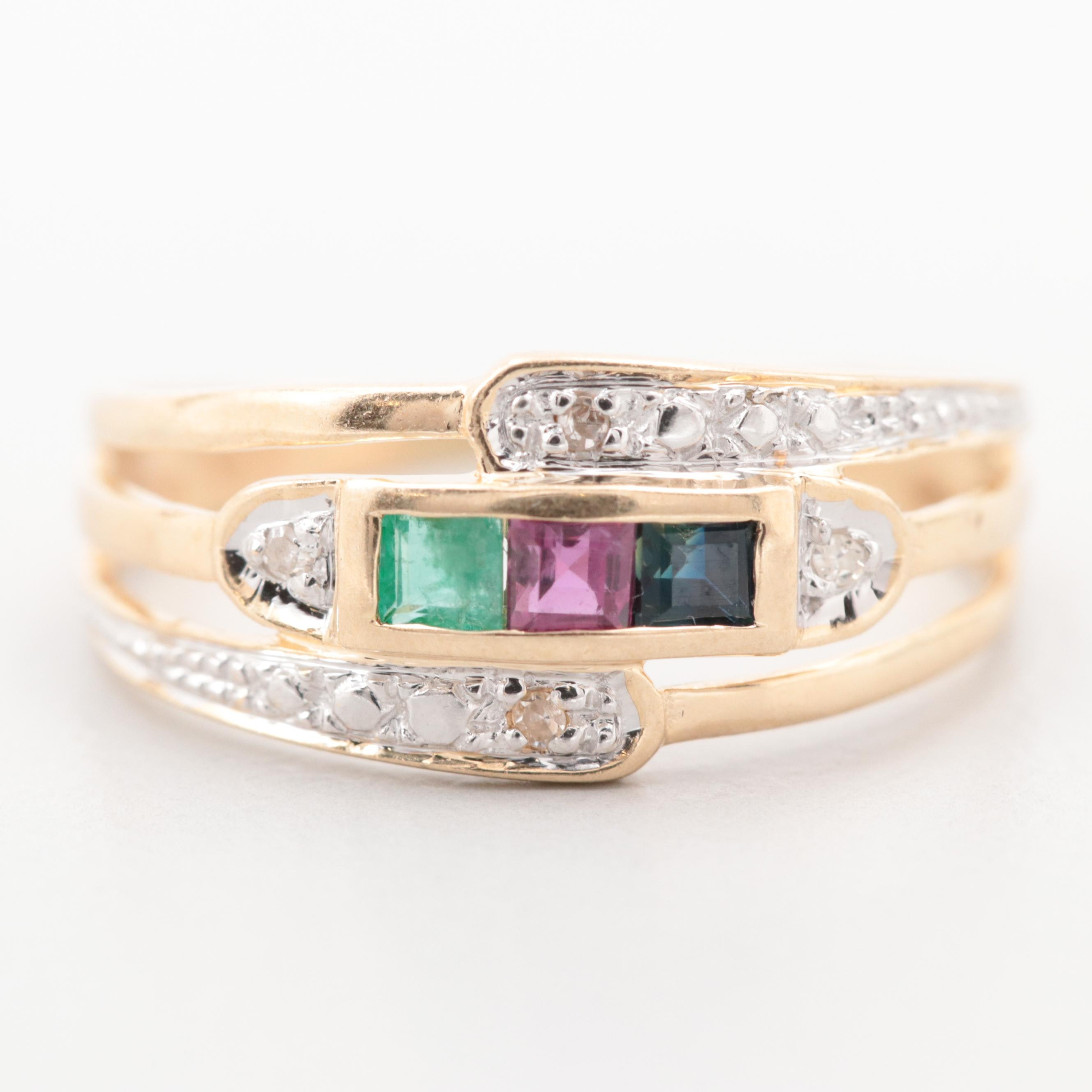 14K Yellow Gold Ruby, Blue Sapphire, Emerald, and Diamond Ring