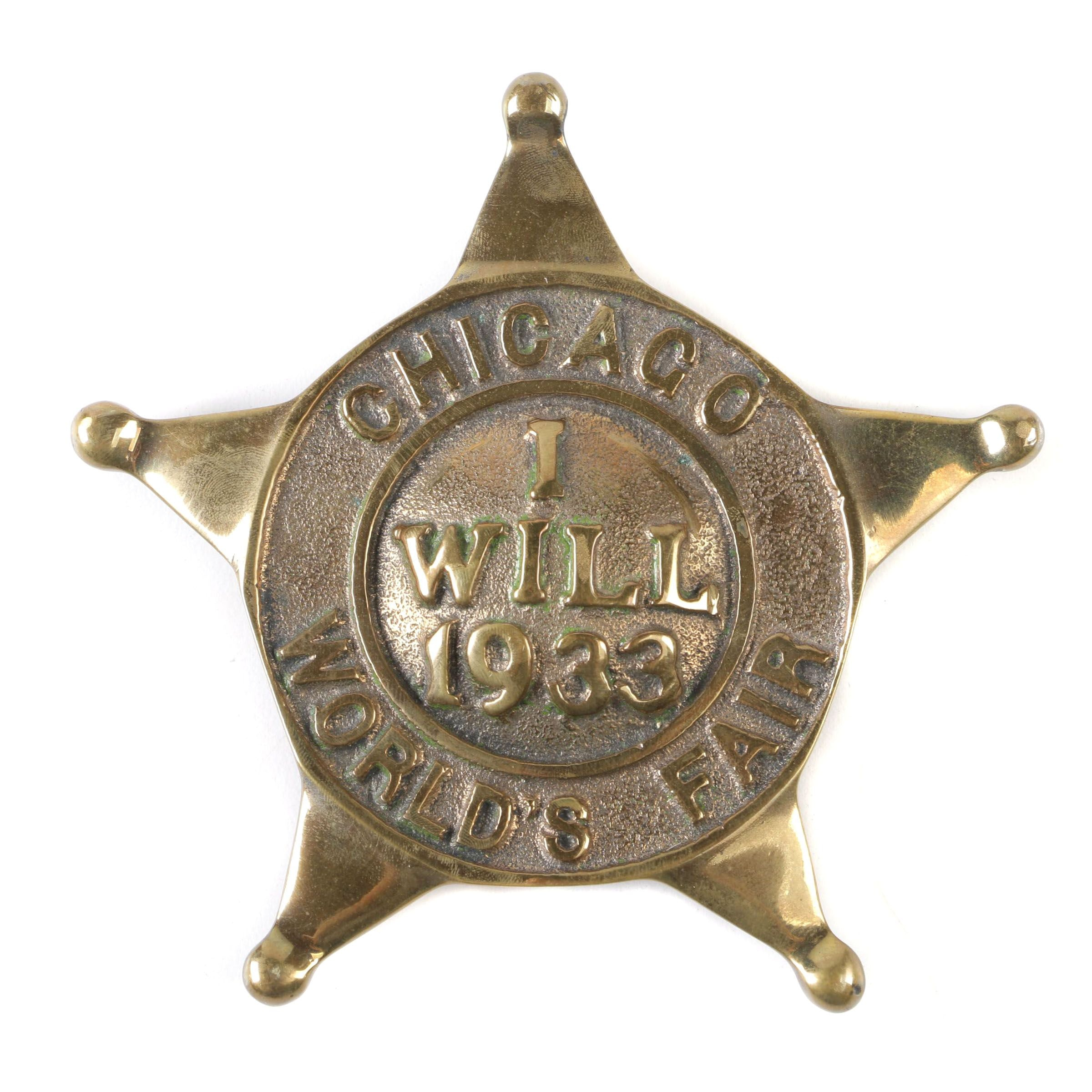 Chicago World's Fair Cast Metal Police Car License Plate Badge, 1933