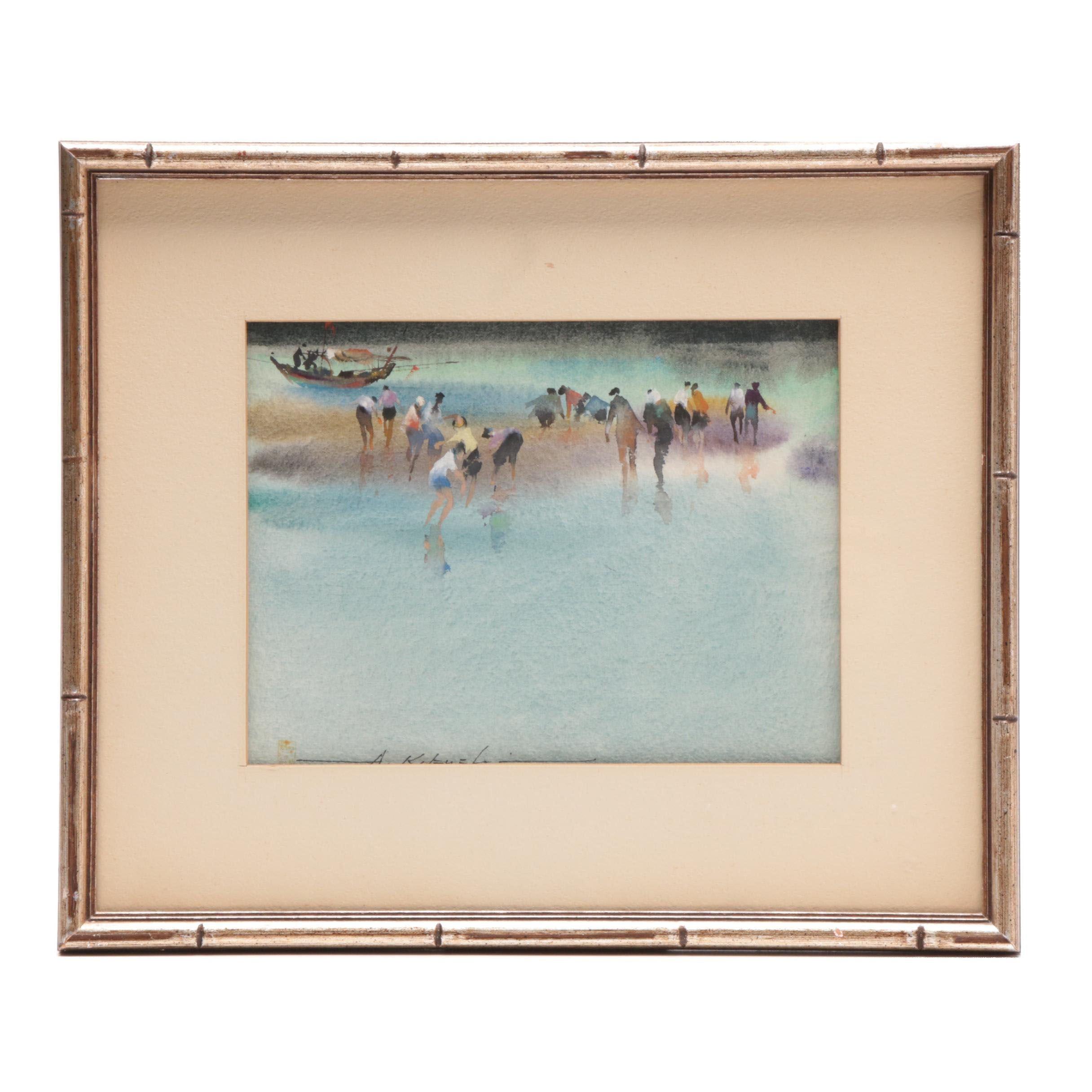 Atsushi Kikuchi Watercolor Painting of Beach Scene