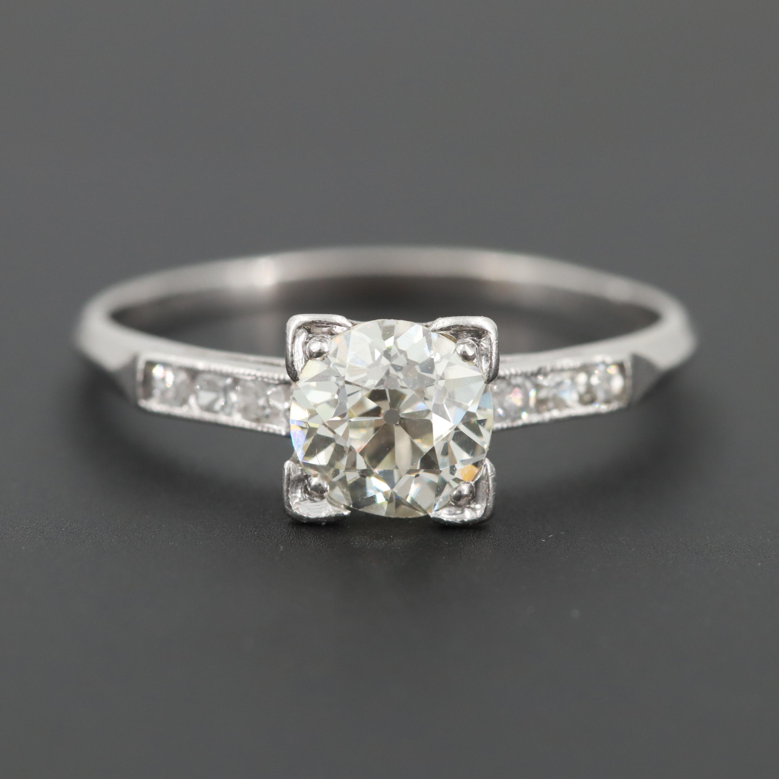Vintage Platinum 1.07 CTW Diamond Ring