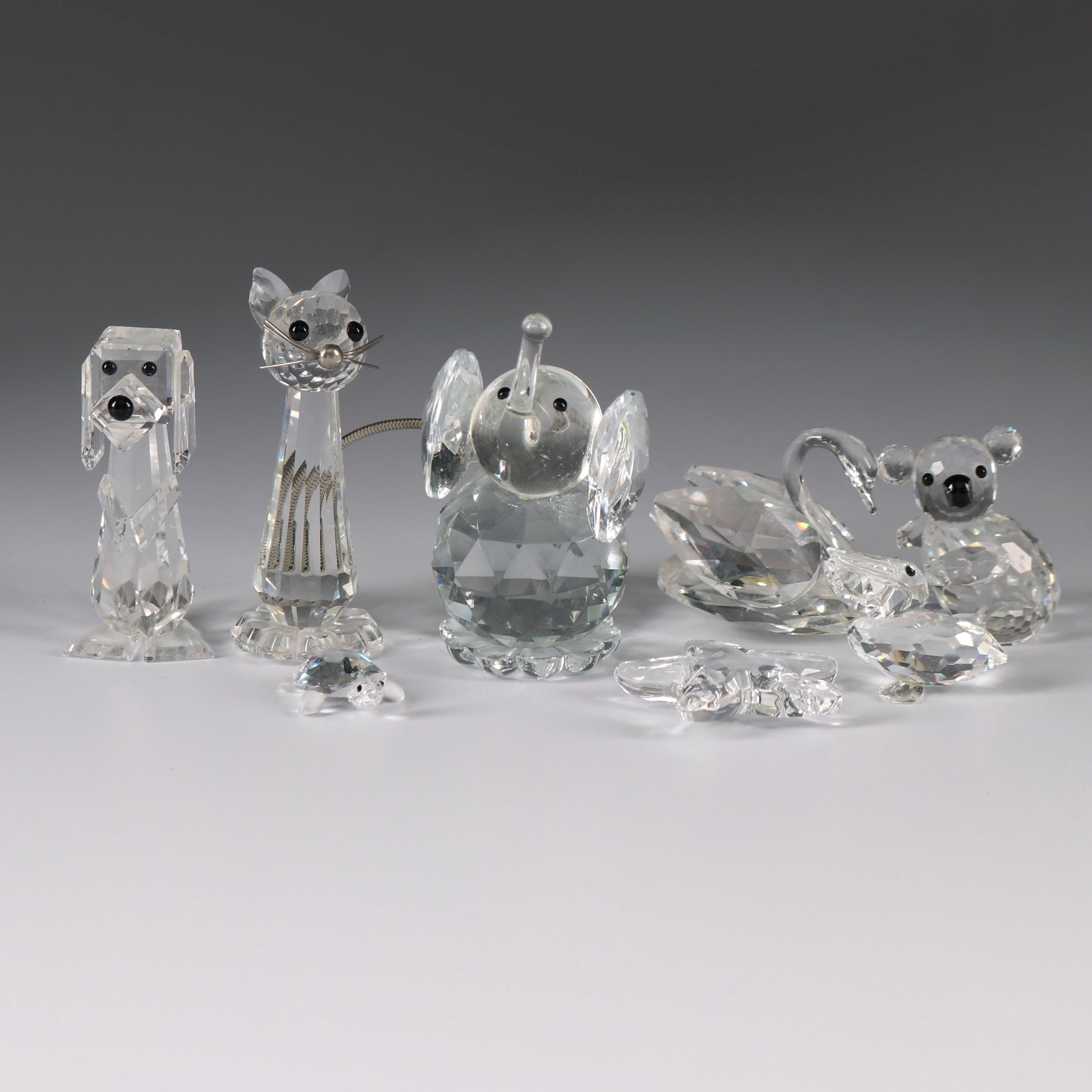 Swarovski Lead Glass Animal Figurines, Late 20th Century