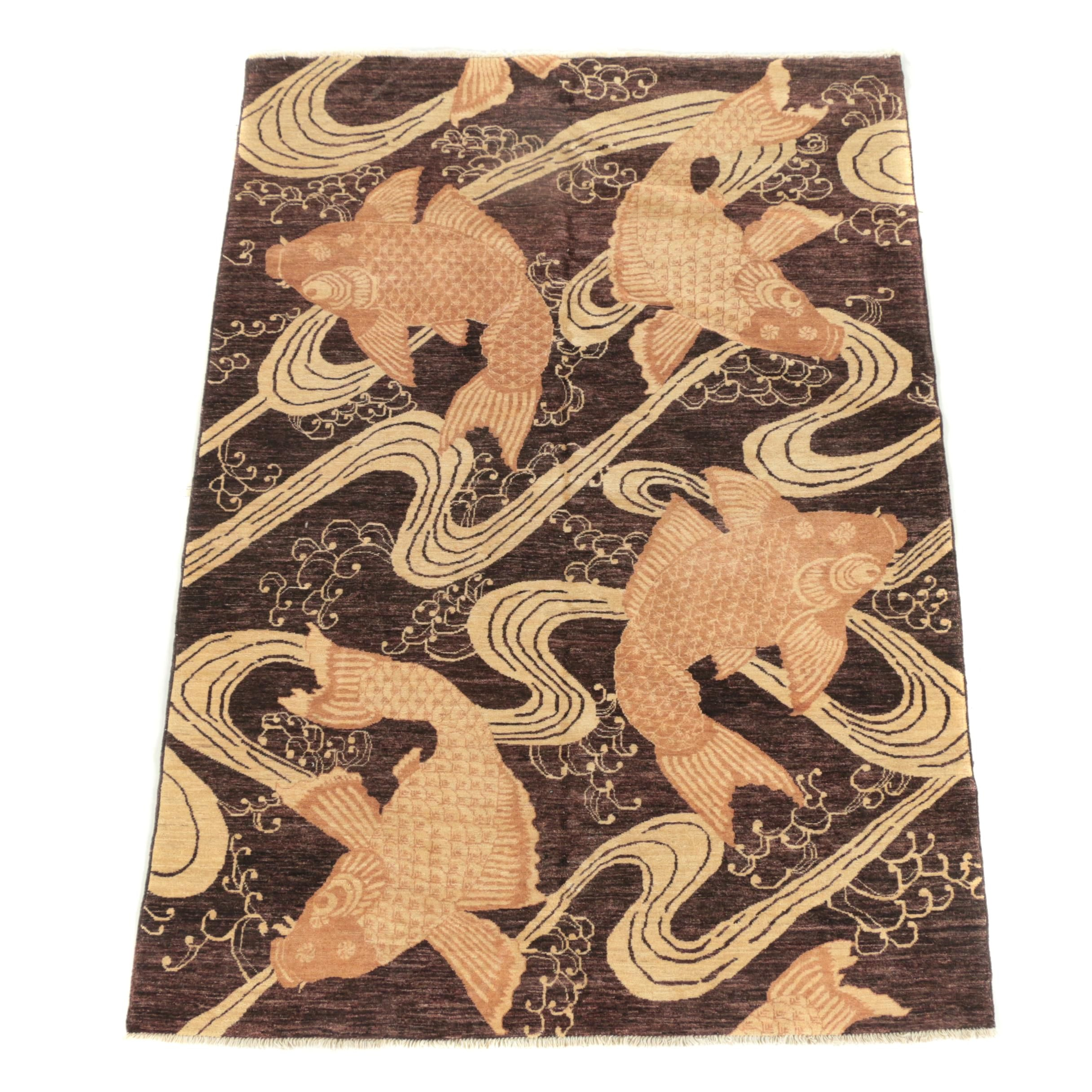 Hand-Knotted Pakistani Koi Pictorial Wool Area Rug
