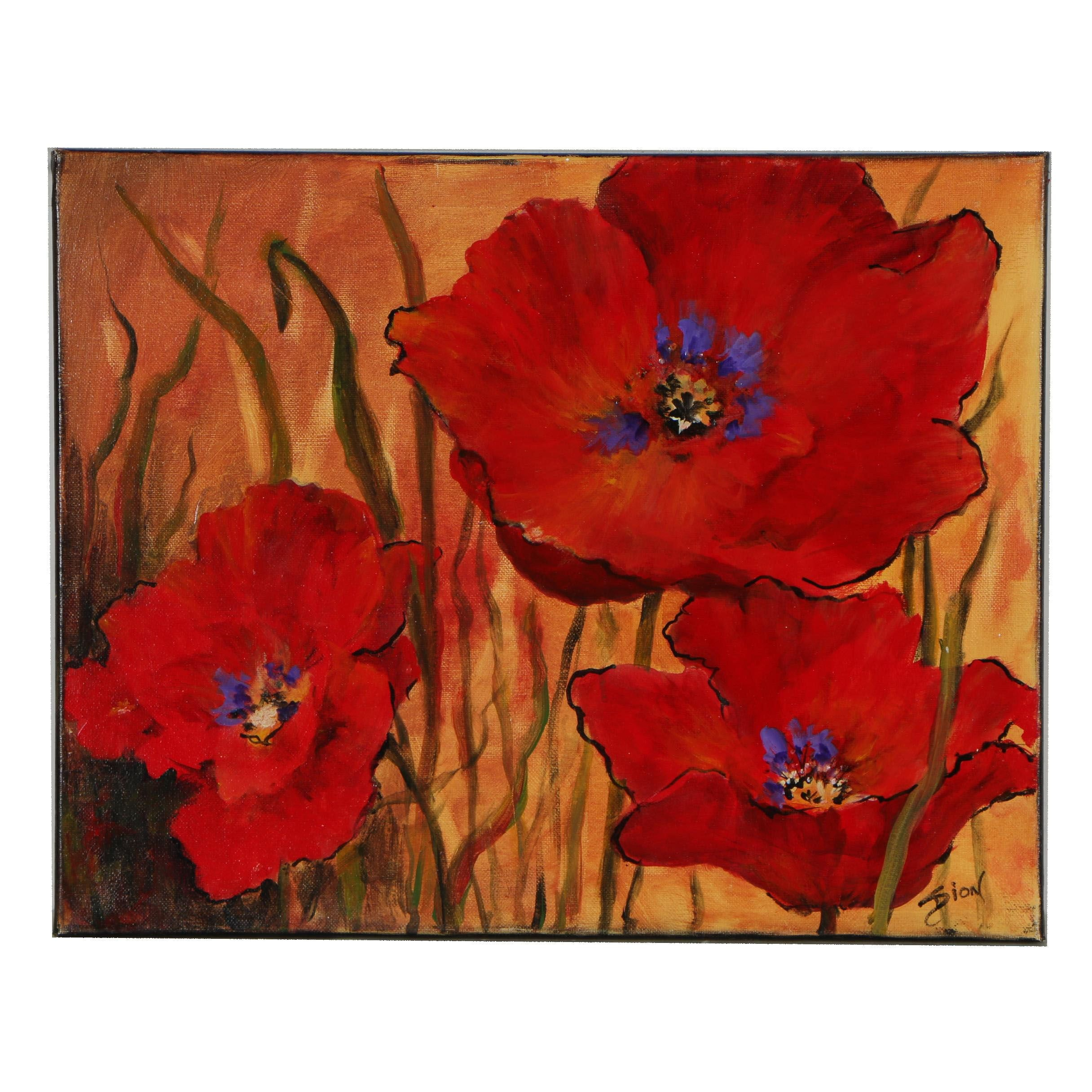 "Sue Dion Oil Painting ""Poppies in Red"""