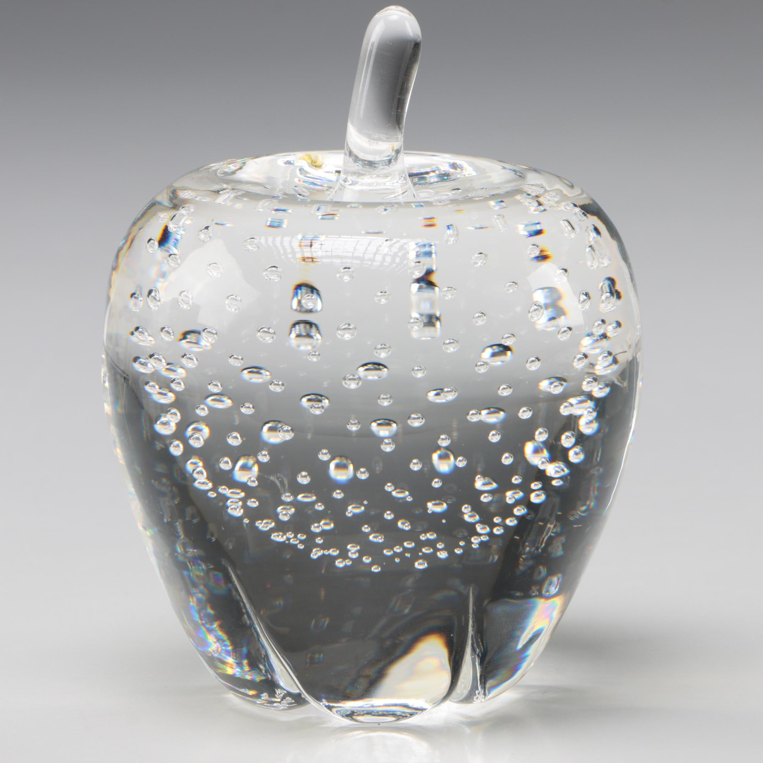"Steuben Art Glass ""Apple of Eden"" Paperweight by John Houston, Late 20th Century"