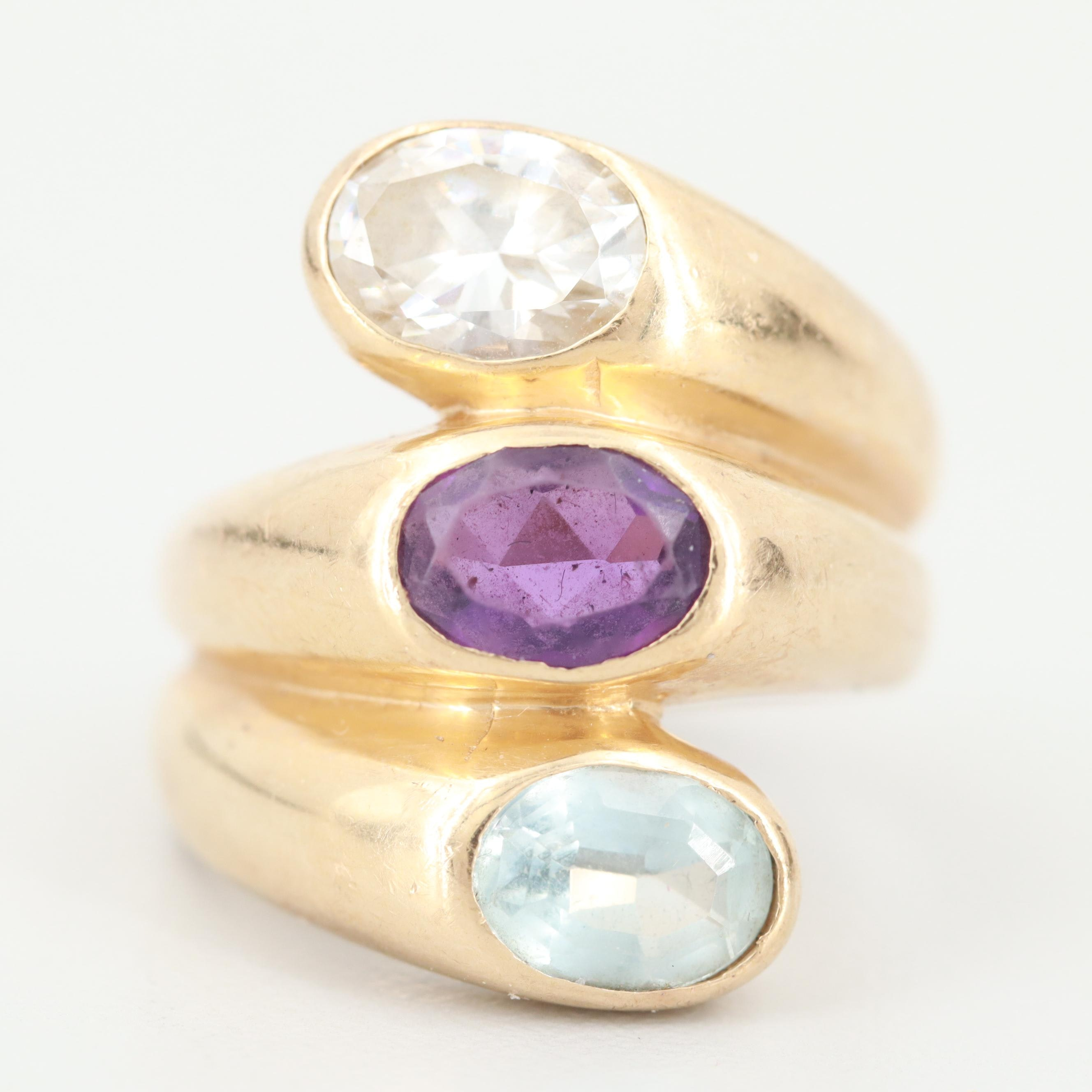 14K Yellow Gold Topaz, Aquamarine and Amethyst Ring