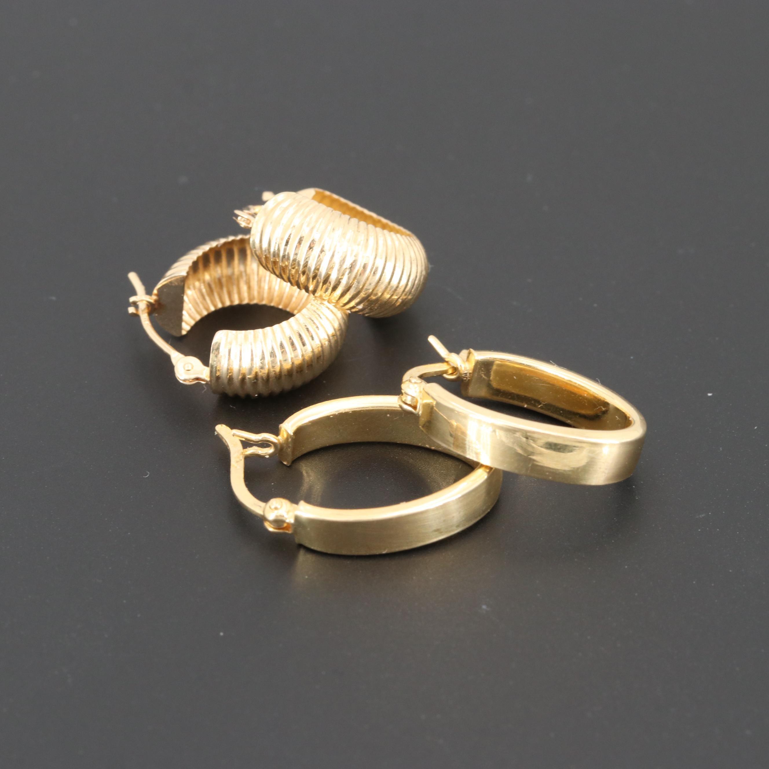 18K and 14K Yellow Gold Hoop Earrings
