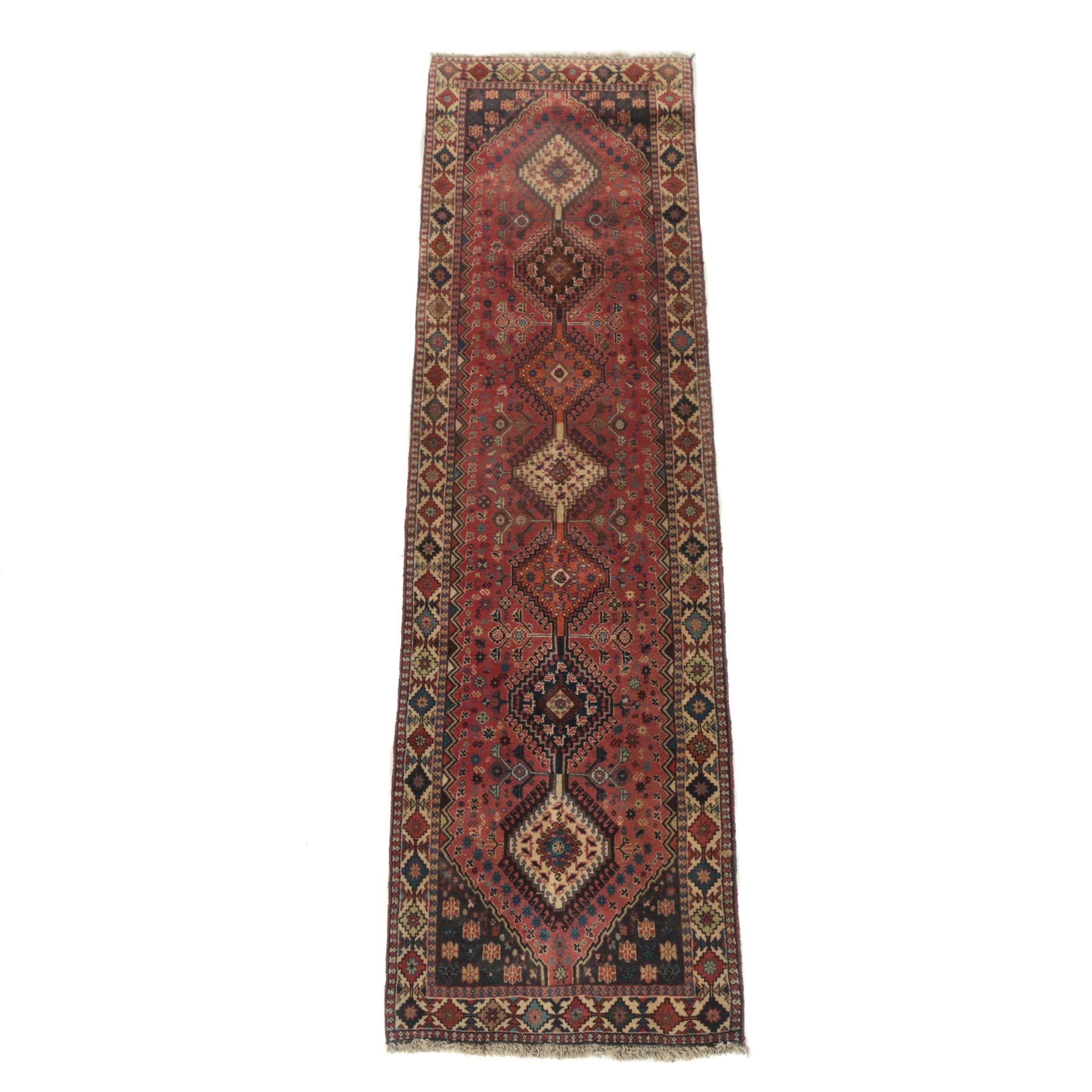 Hand-Knotted Persian Yalameh Wool Carpet Runner