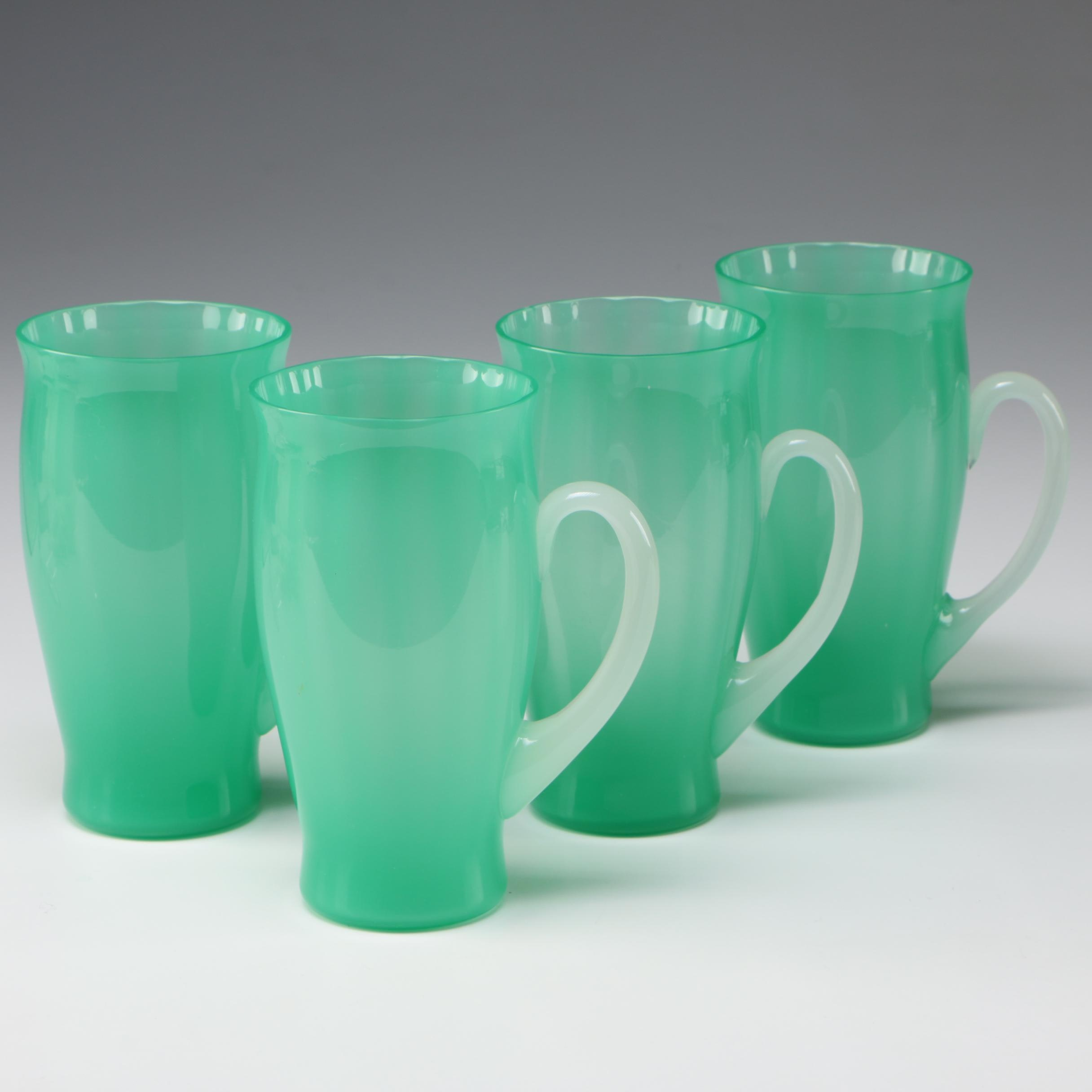 Steuben Green Jade and Alabaster Art Glass Tumblers, Early 20th Century