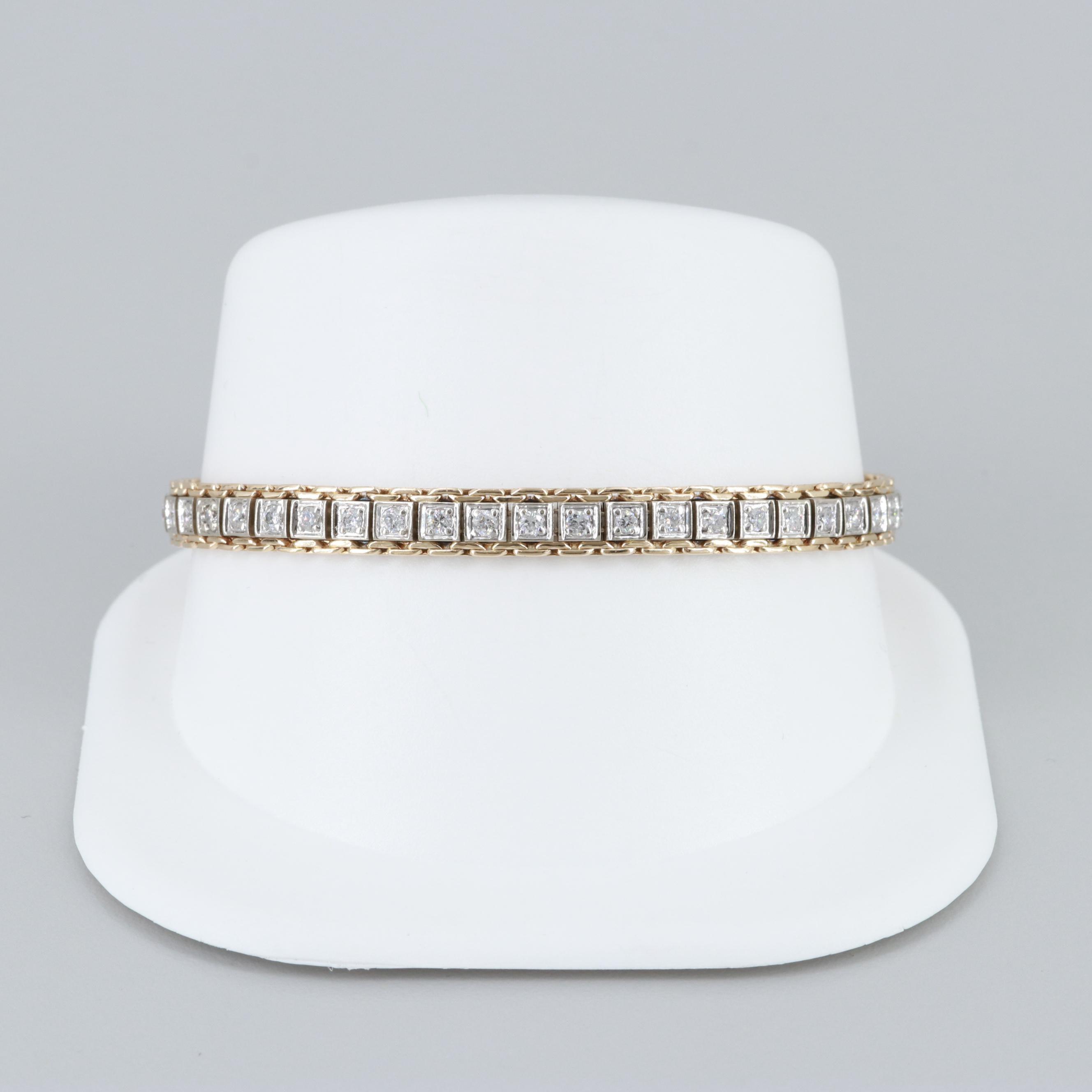 14K Yellow and White Gold 1.00 CTW Diamond Bracelet