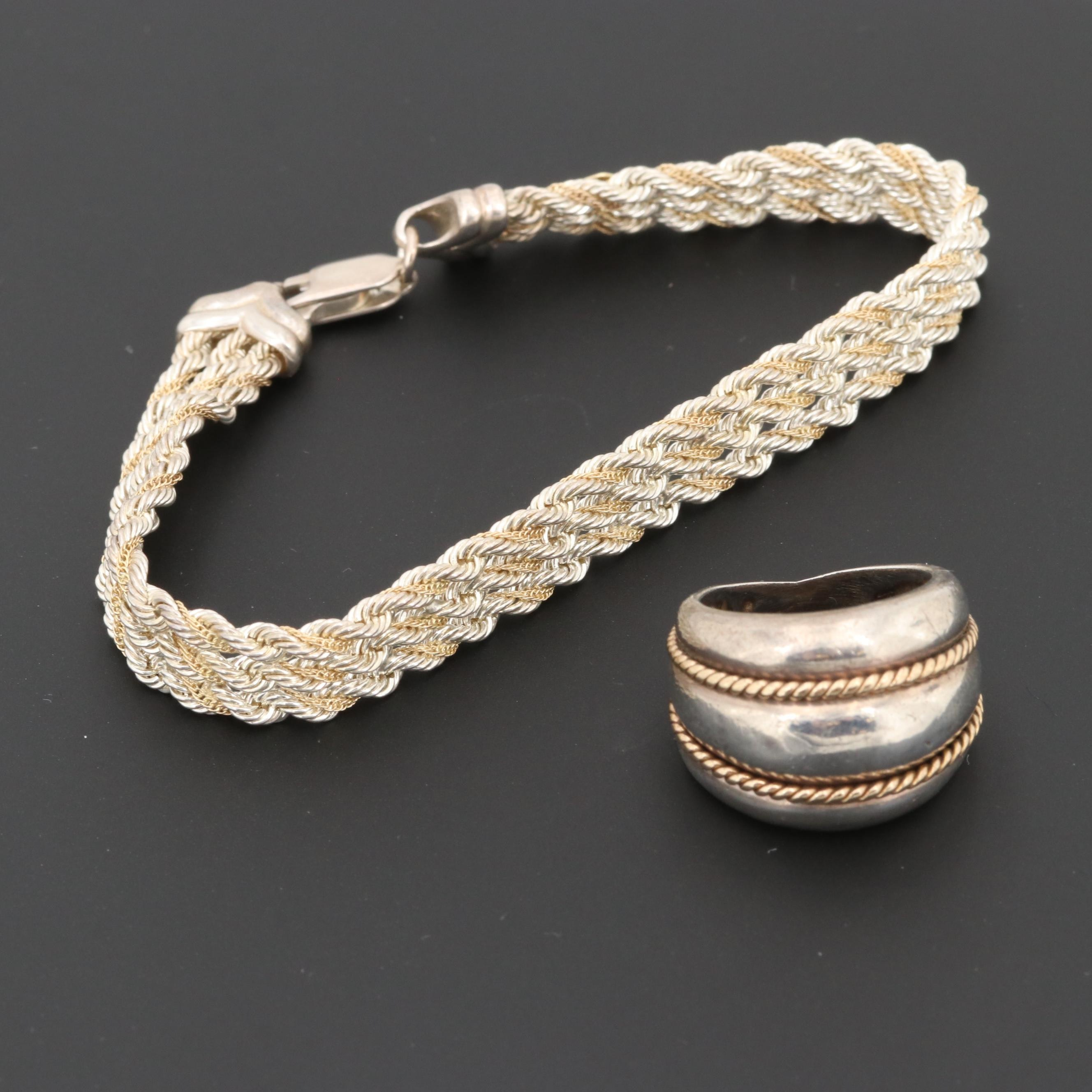 Sterling Silver Bracelet and Ring with 14K Yellow Gold Accents