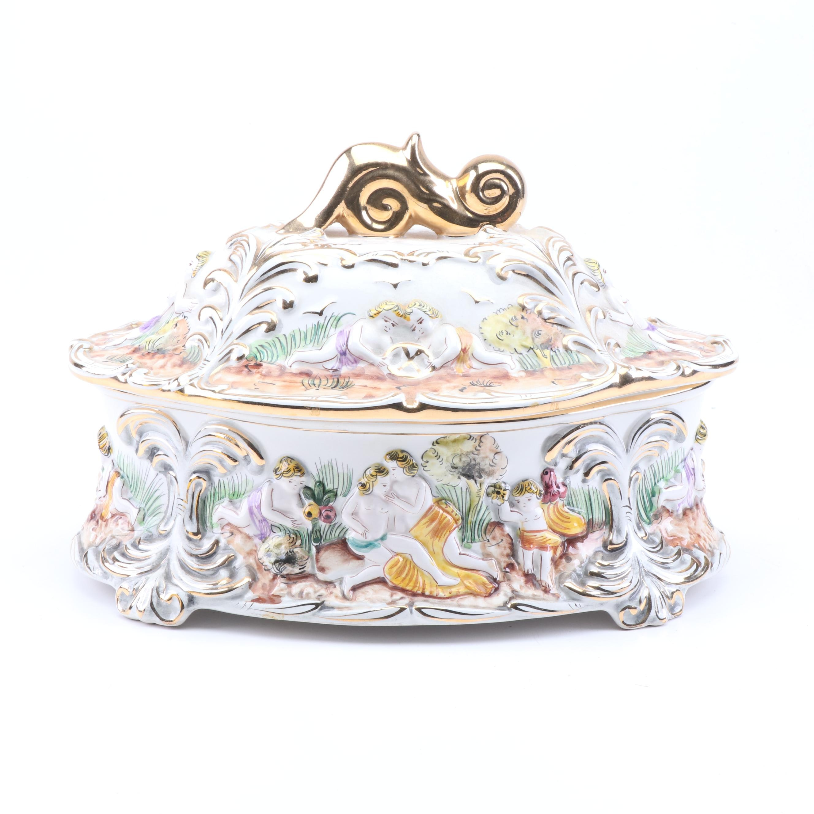 ELPA Alcobaca for S.A. Leart Portuguese Tureen with Gold Lustre