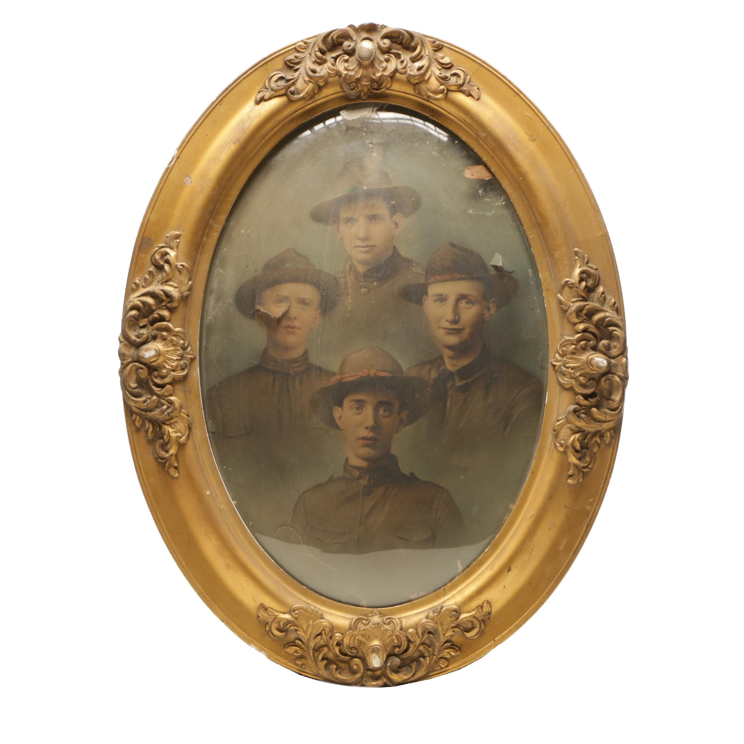 Early 20th Century Convex Glass Framed Military Photograph